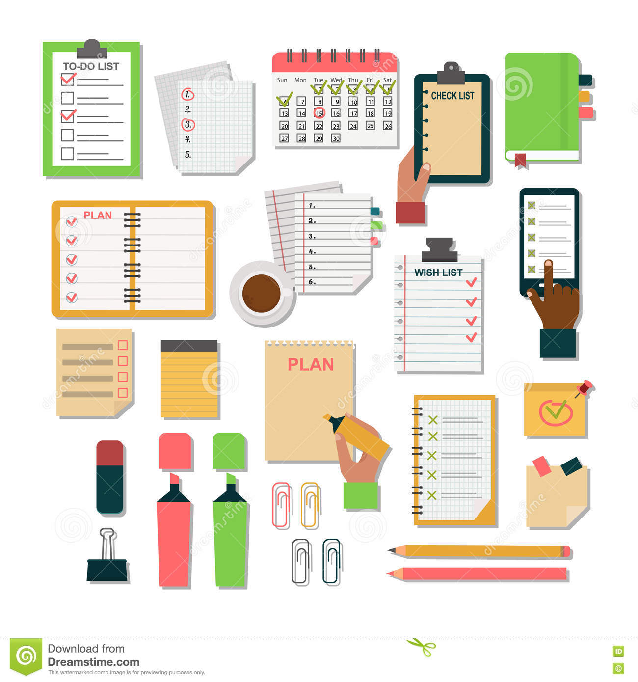 Calendar Planner Organizer : Agenda business notes vector stock illustration