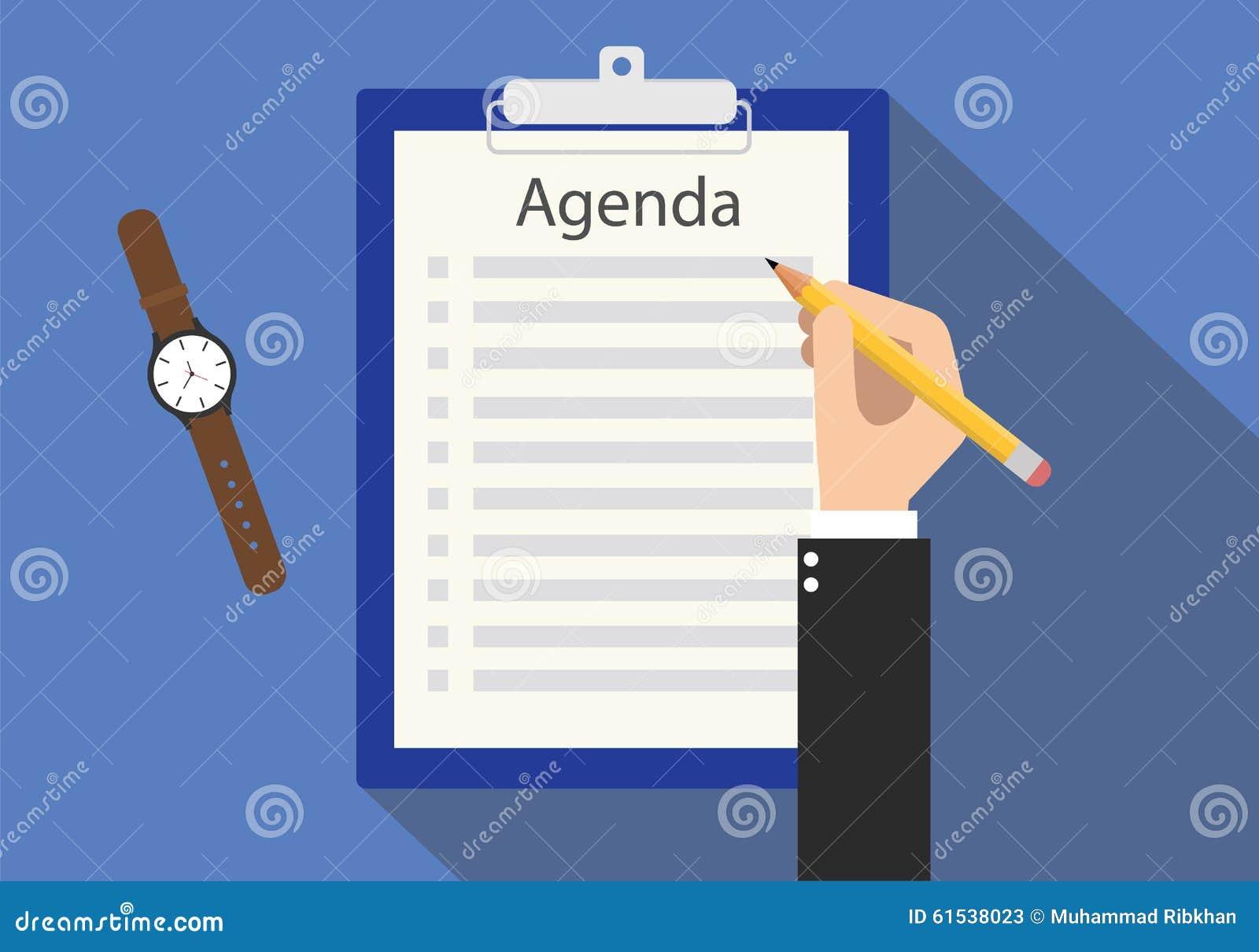 agenda meeting to do list on clipboard stock vector