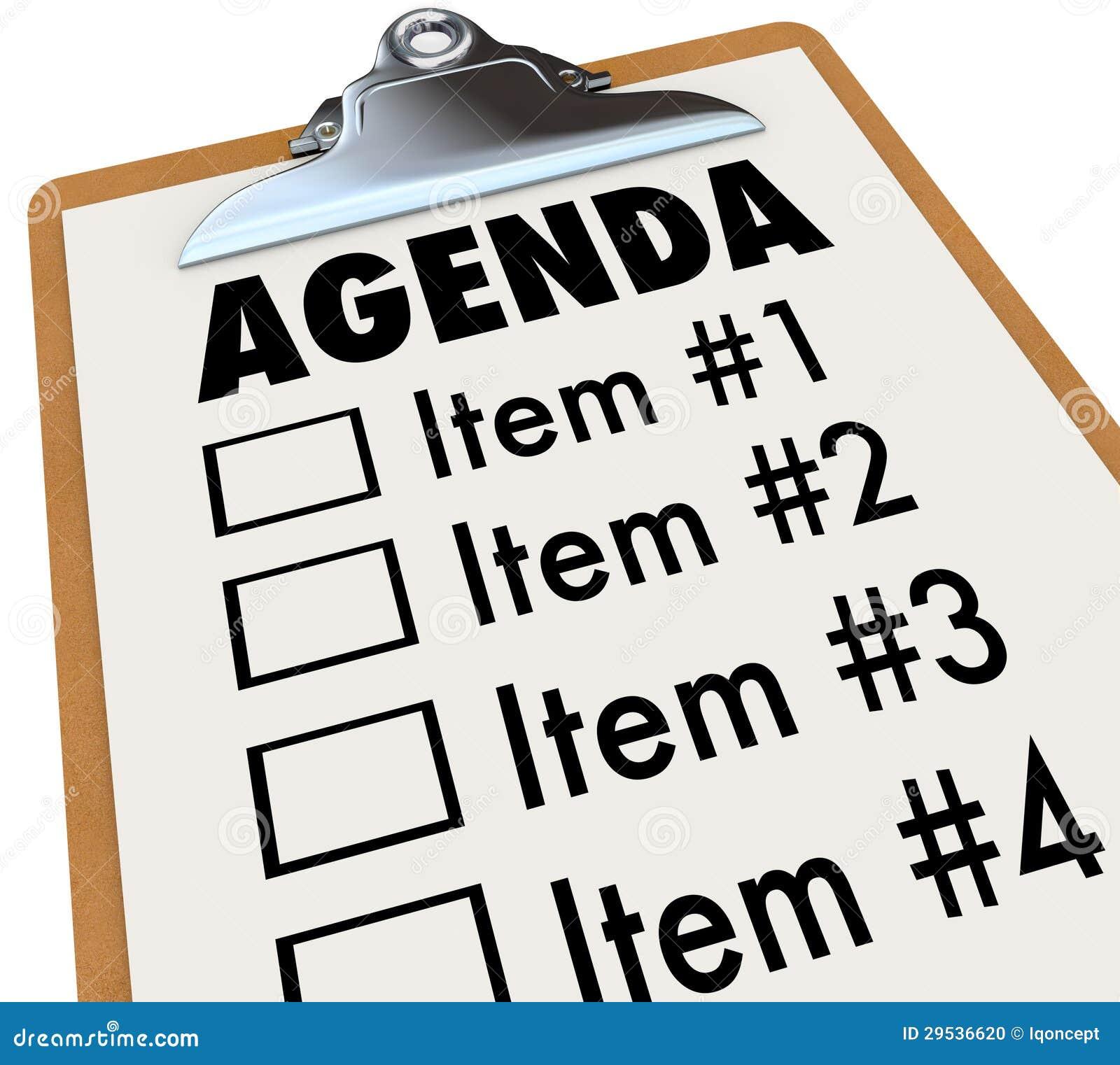 Agenda no plano da prancheta para o encontro ou o projeto