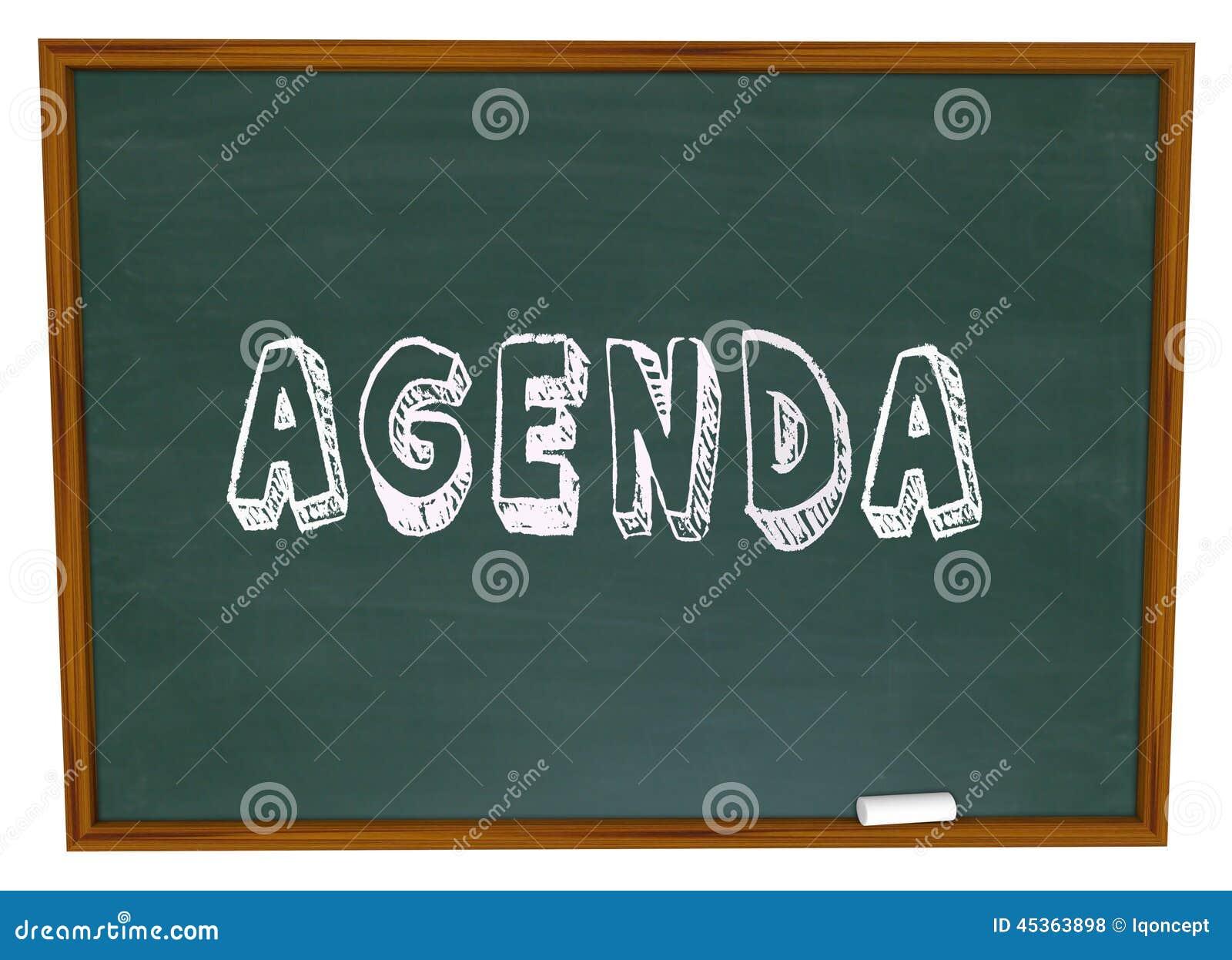 Agenda Schedule Word Chalkboard School Class Lesson Education – School Agenda