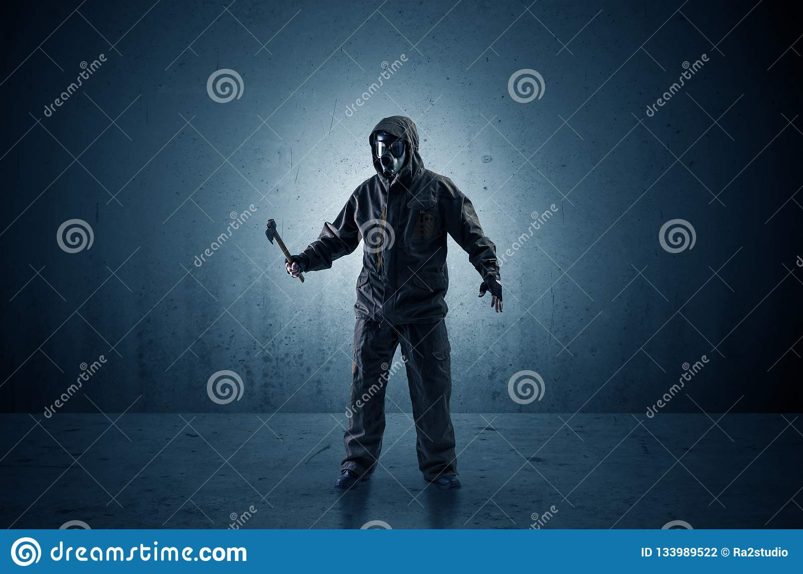 Agent In A Dark Space With Arms Stock Photo - Image of guard