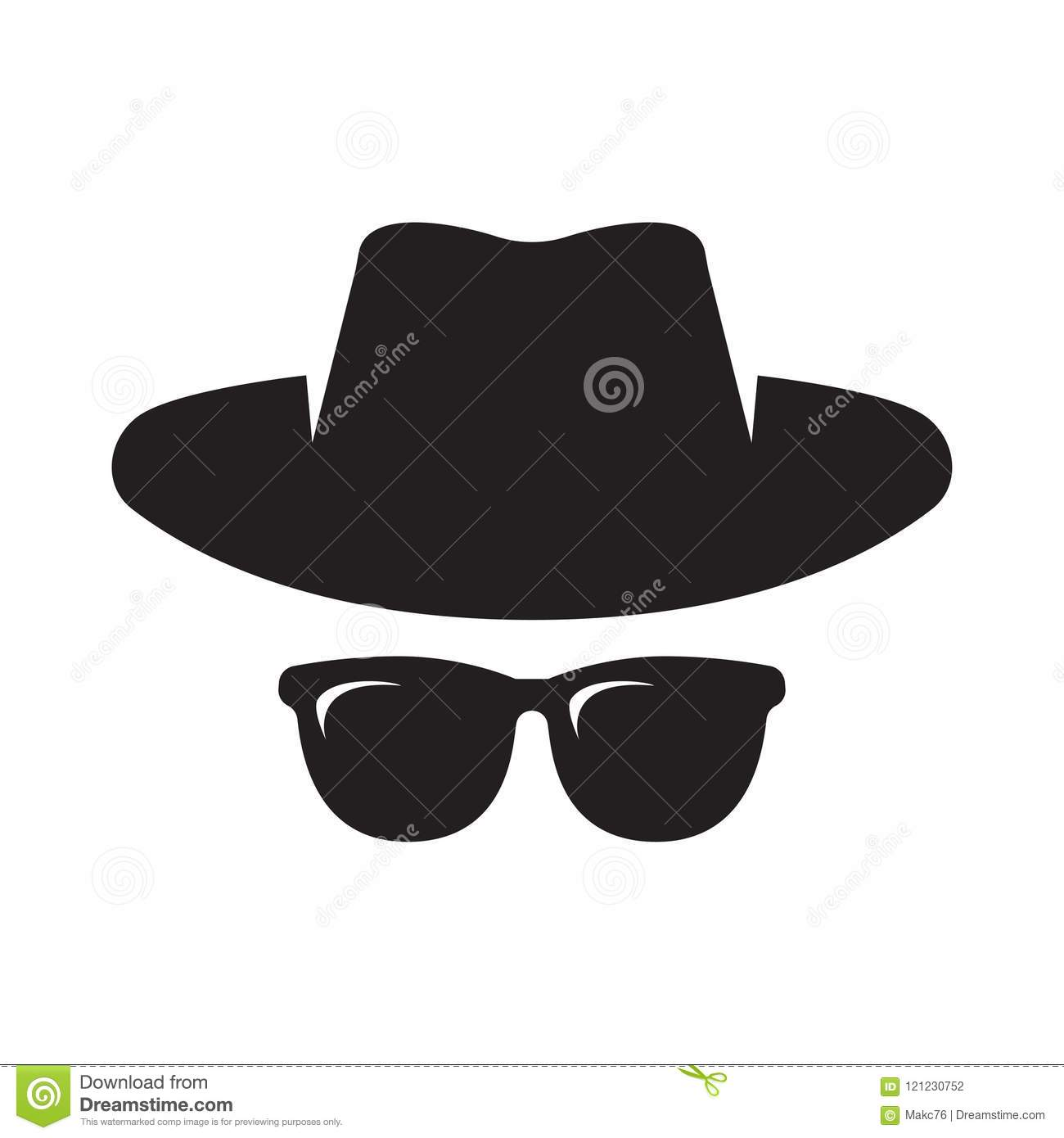 Security Hut Symbol: Agent Icon. Spy Sunglasses. Hat And Glasses Stock Vector