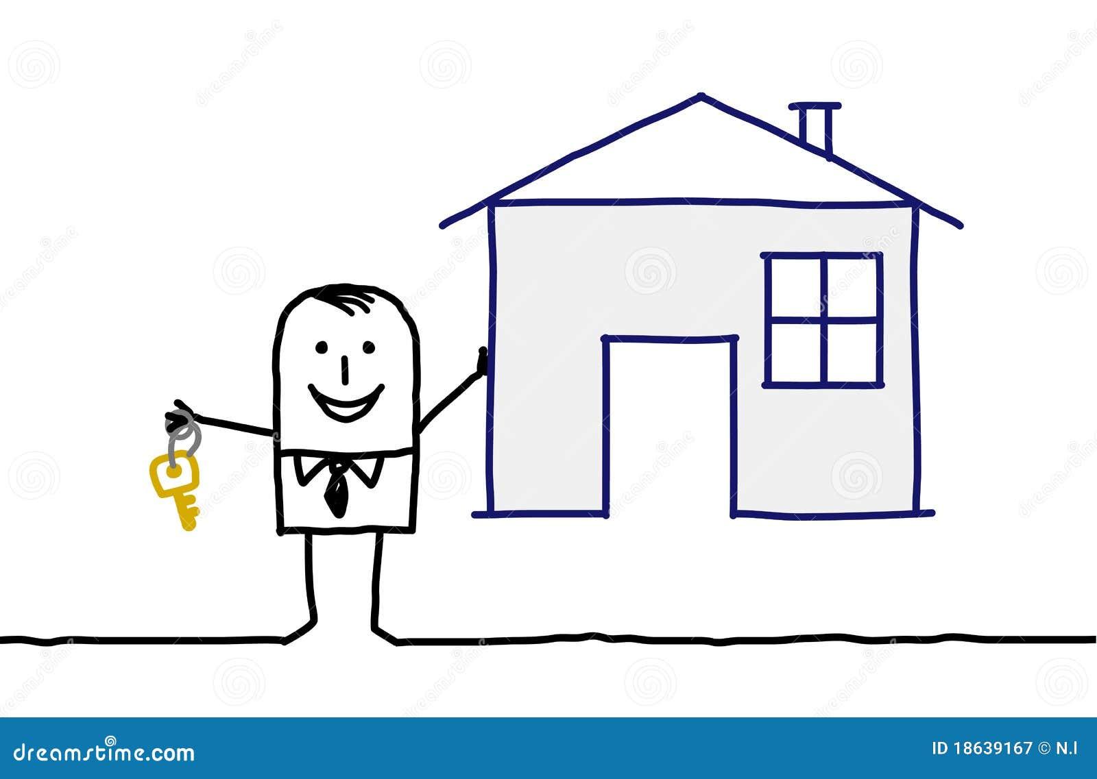 Agent immobilier et maison r els photographie stock libre for Com agent immobilier