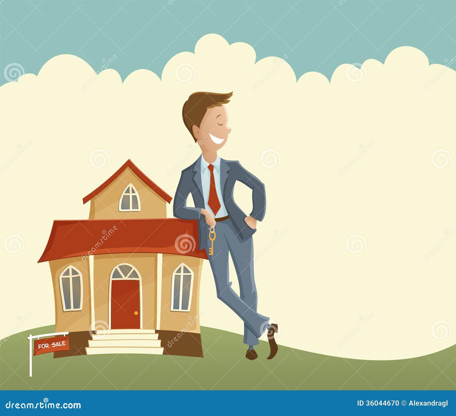 Agente de la propiedad inmobiliaria y casa