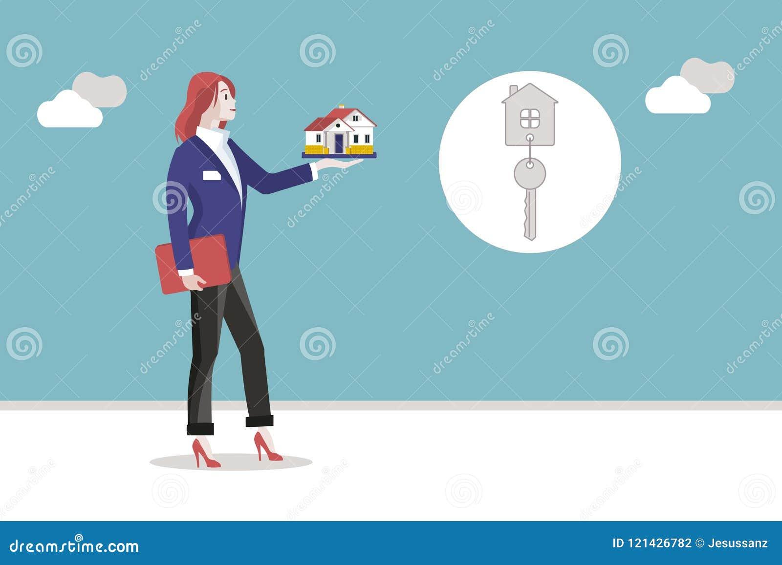 Agente Woman de los bienes inmuebles