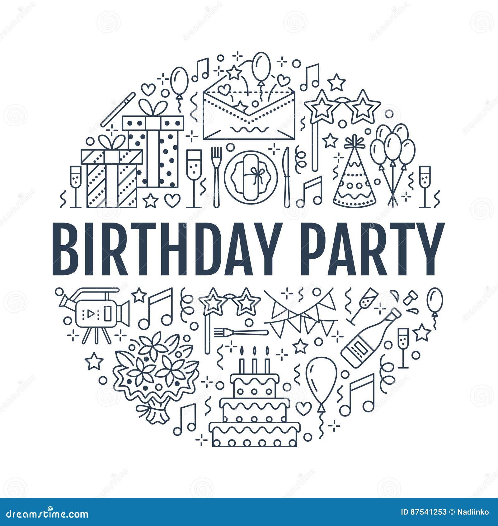 Agenzia di evento, insegna della festa di compleanno con la linea icona di approvvigionamento, torta di compleanno, decorazione d