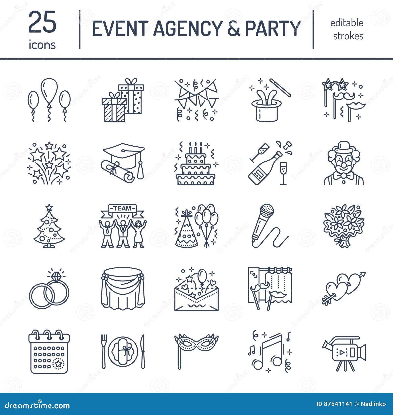 Agenzia di evento, linea icona di vettore di organizzazione di nozze Faccia festa l approvvigionamento di servizio, la torta di c