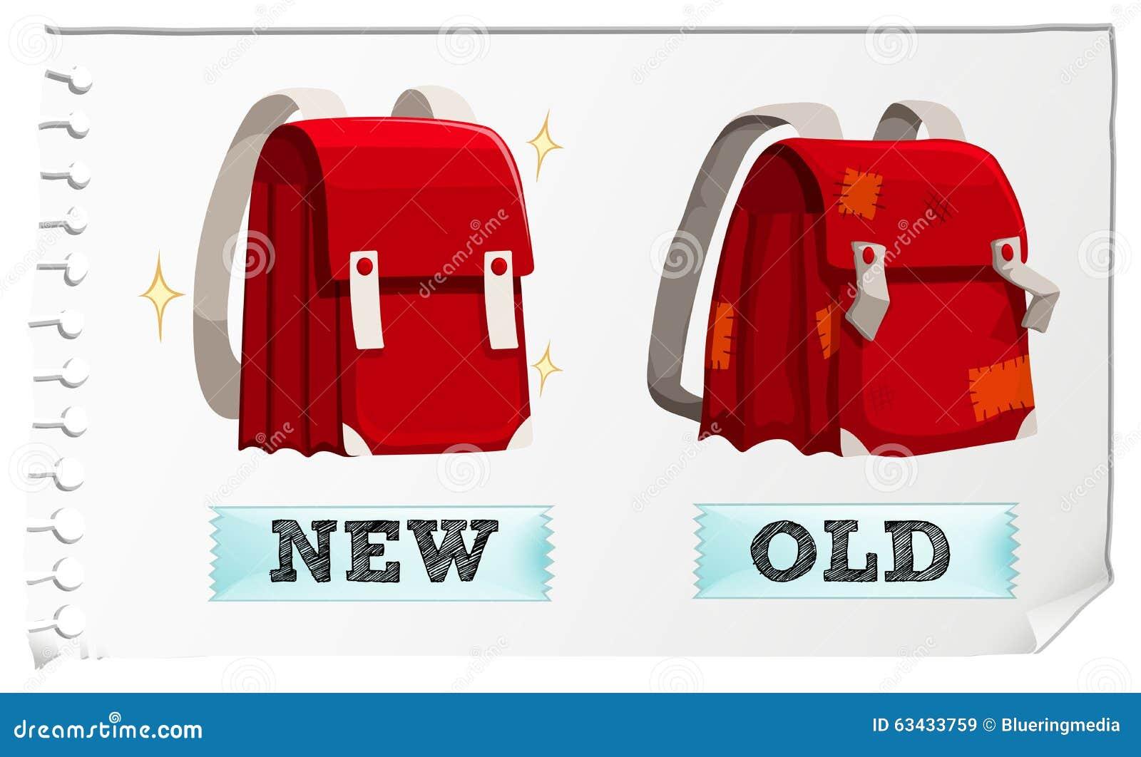 Aggettivi opposti nuovi e vecchi illustrazione vettoriale for Nuovi vecchi piani domestici