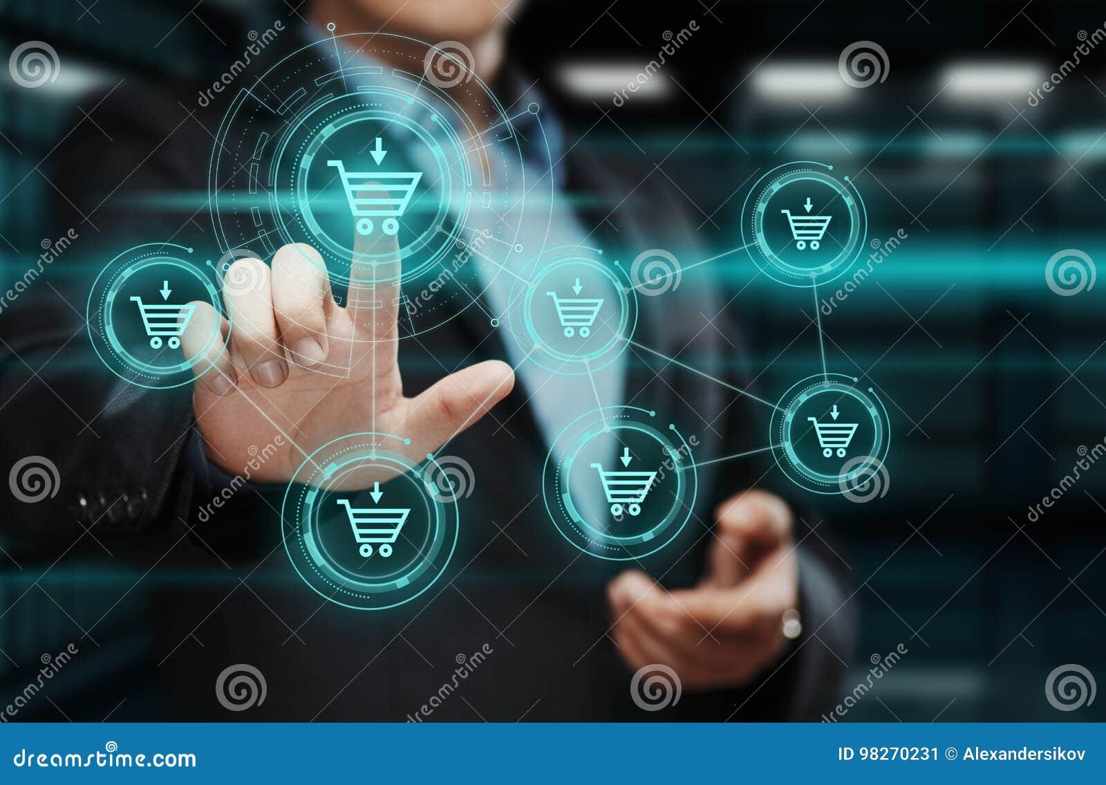Aggiunga al concetto online di commercio elettronico dell affare del deposito di web di Internet del carretto