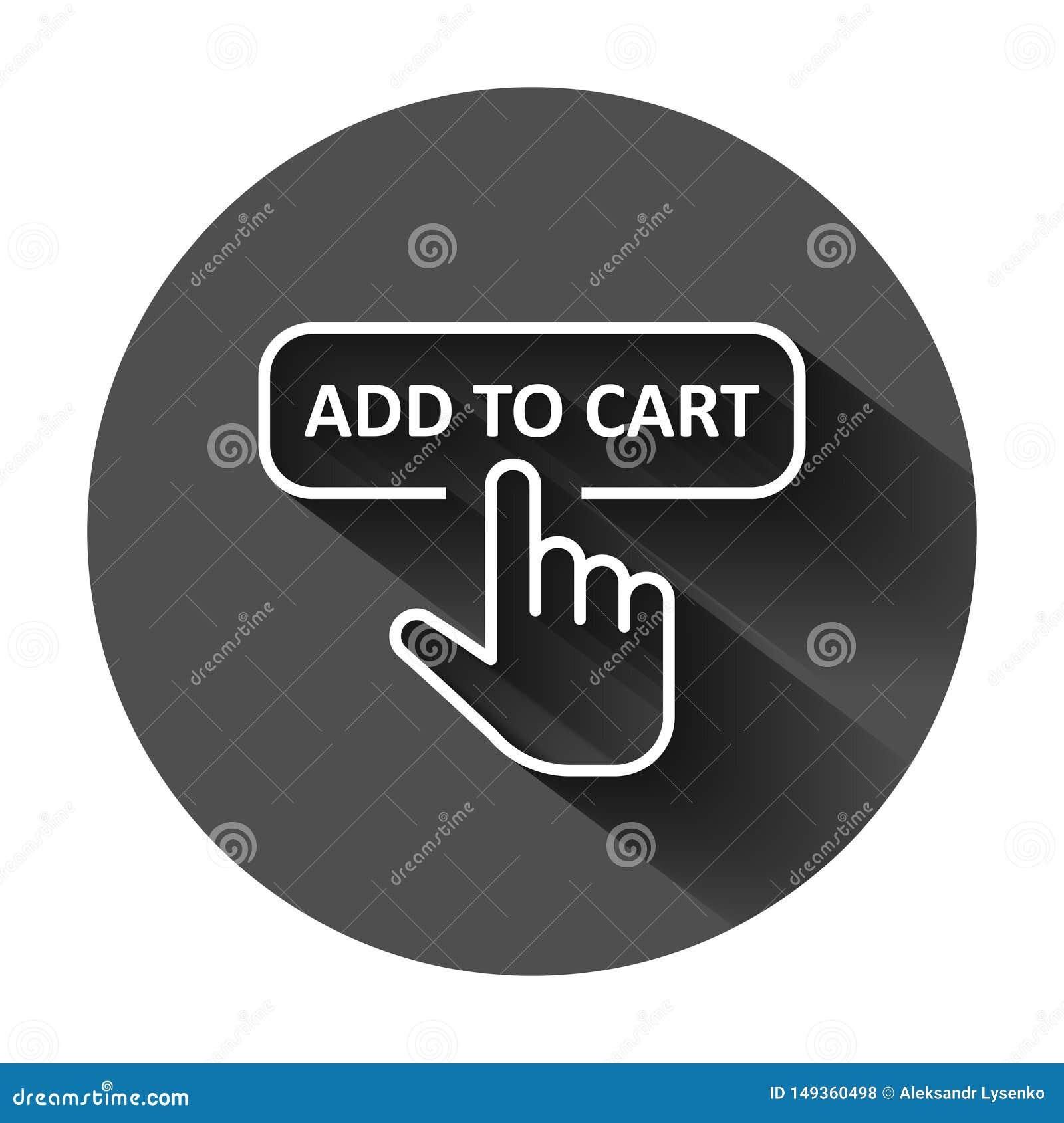 Aggiunga all icona del negozio del carretto nello stile piano Illustrazione di vettore del cursore del dito su fondo rotondo nero