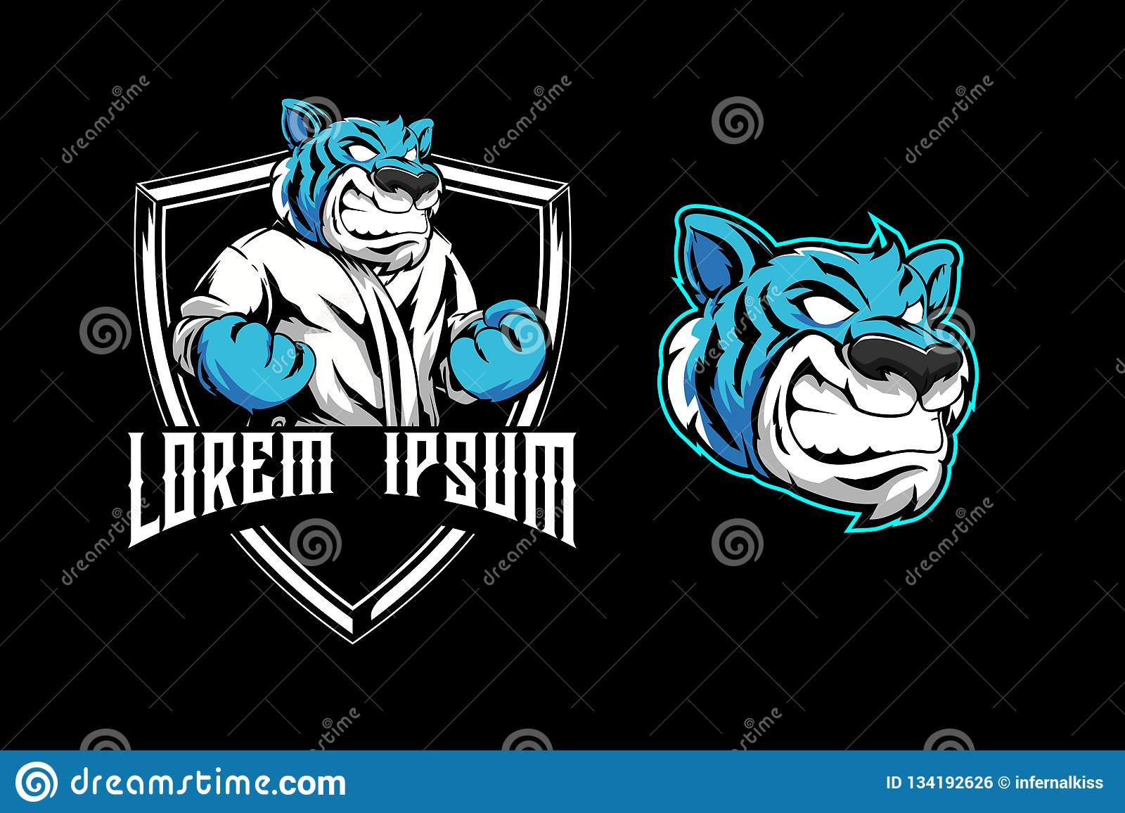 Aggressive Blue Tiger For Martial Arts Club Shield Badge Logo Template
