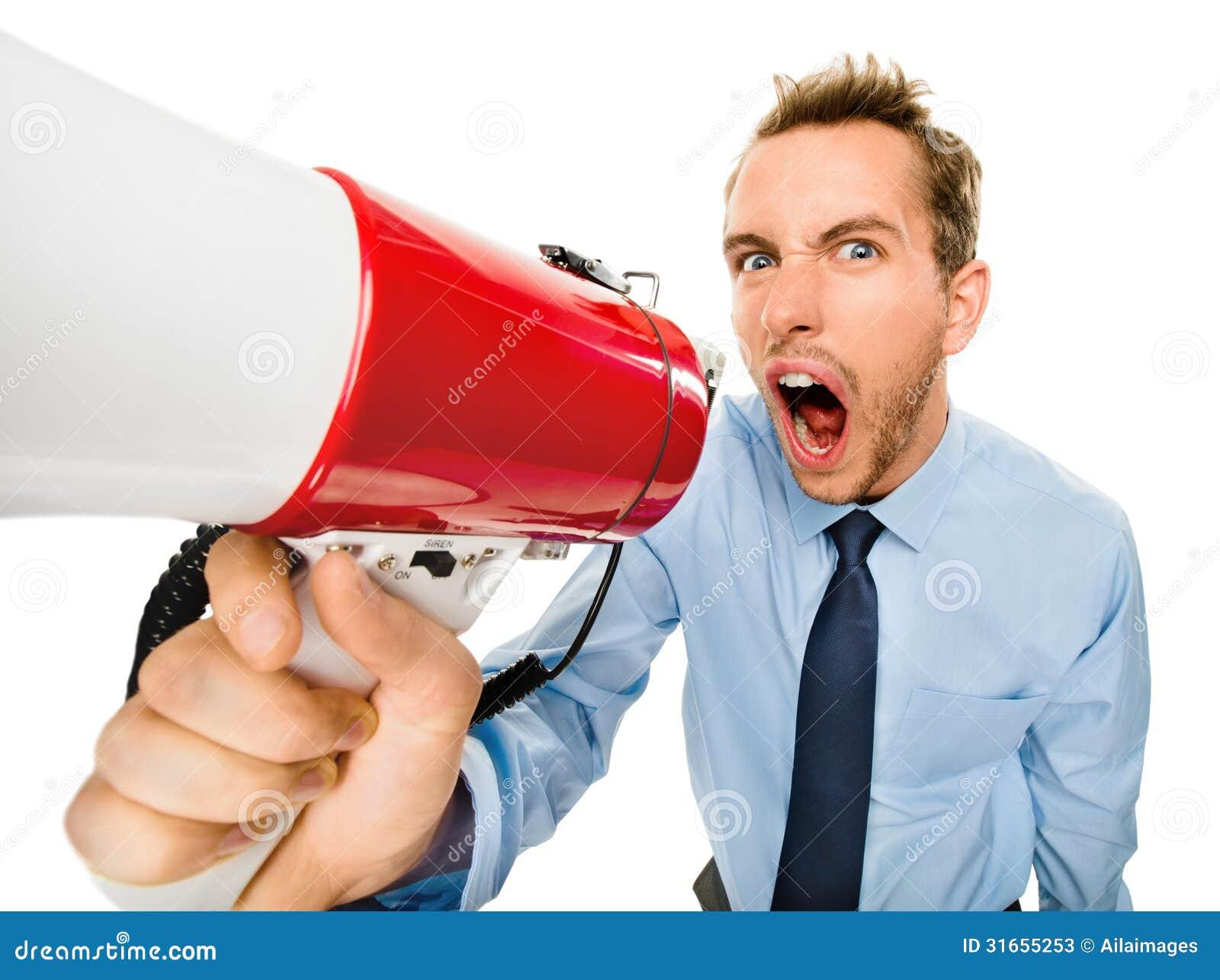aggressive businessman shouting with megaphone on white backgrou stock photos   image 31655253