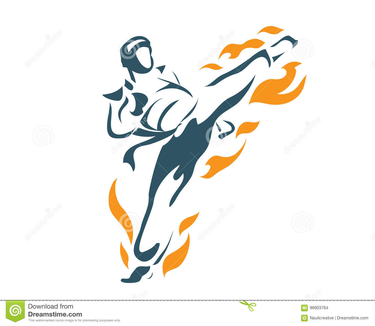 Aggressive Deadly Flying Front Kick Flame Taekwondo Athlete In Action Logo