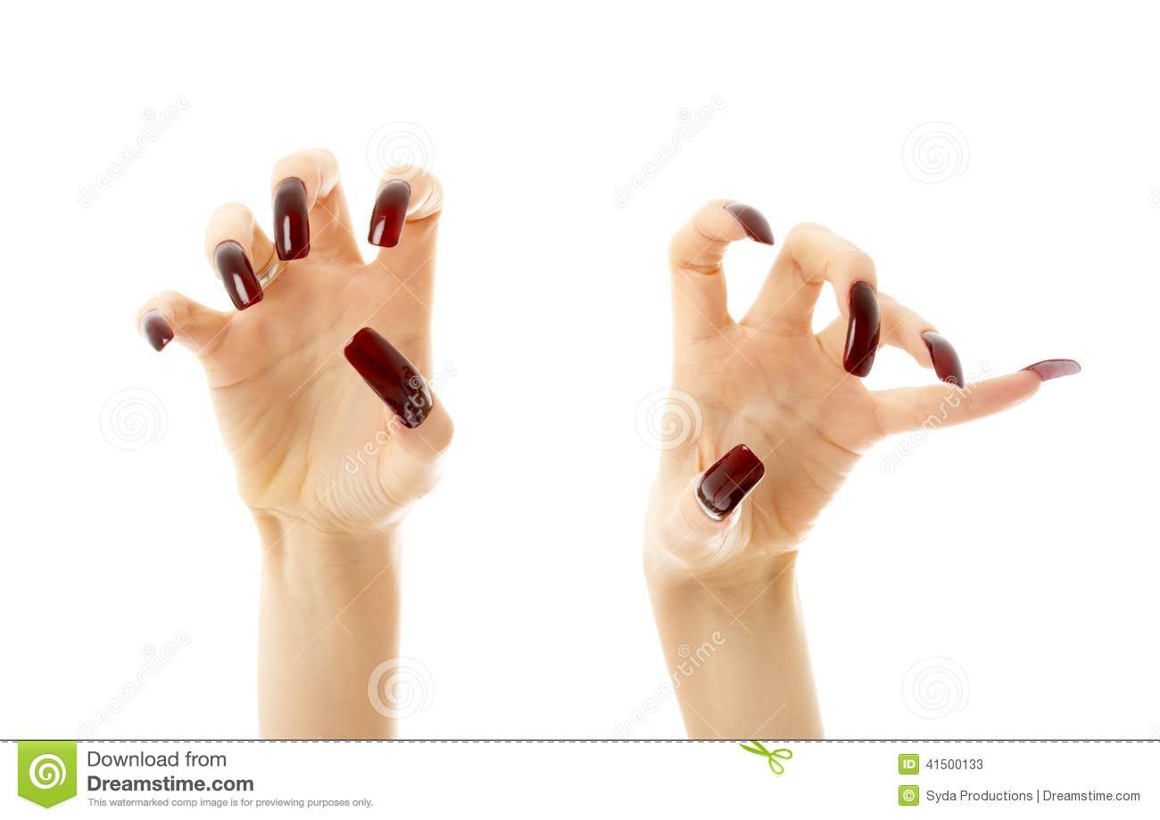 Aggressive Hands With Long Nails Stock Image - Image of beautiful ...