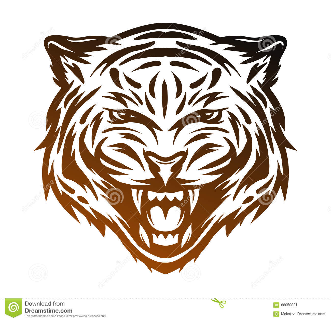 Line Drawing Of Tiger Face : Aggressive tiger face line art style stock vector