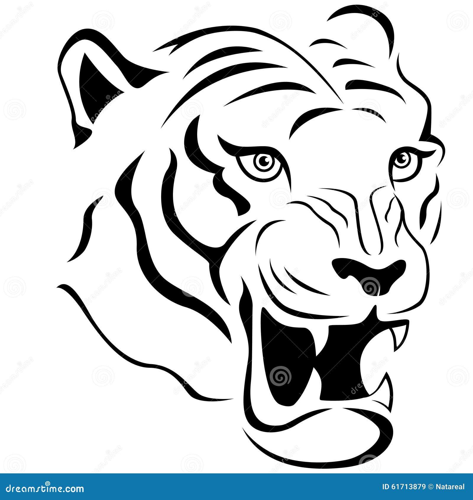 Aggressive tiger head close up stock vector illustration of design cruel 61713879 - Tete de tigre dessin facile ...