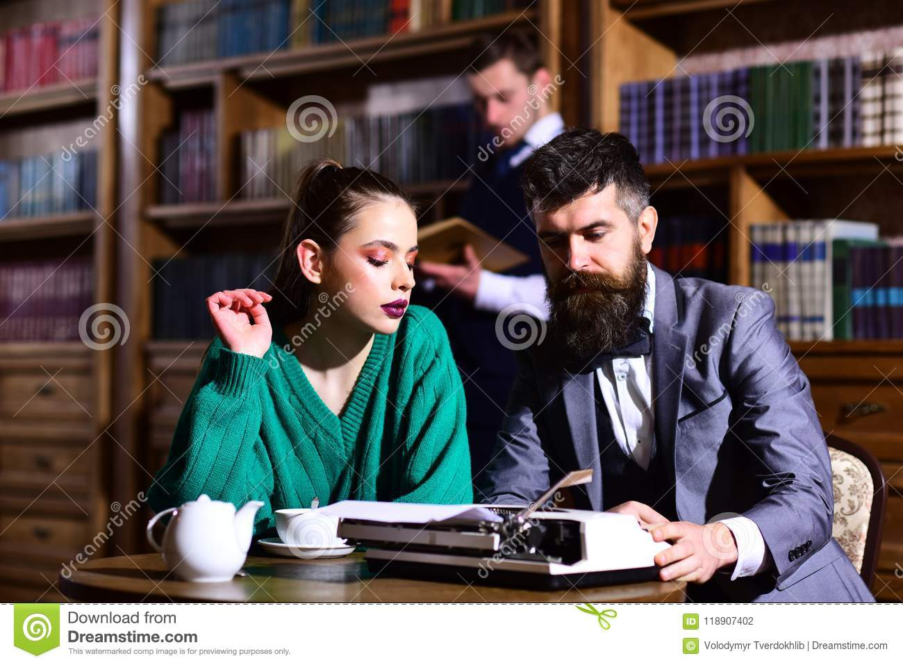 Agile Business And Grammar Concept  Couple In Library With