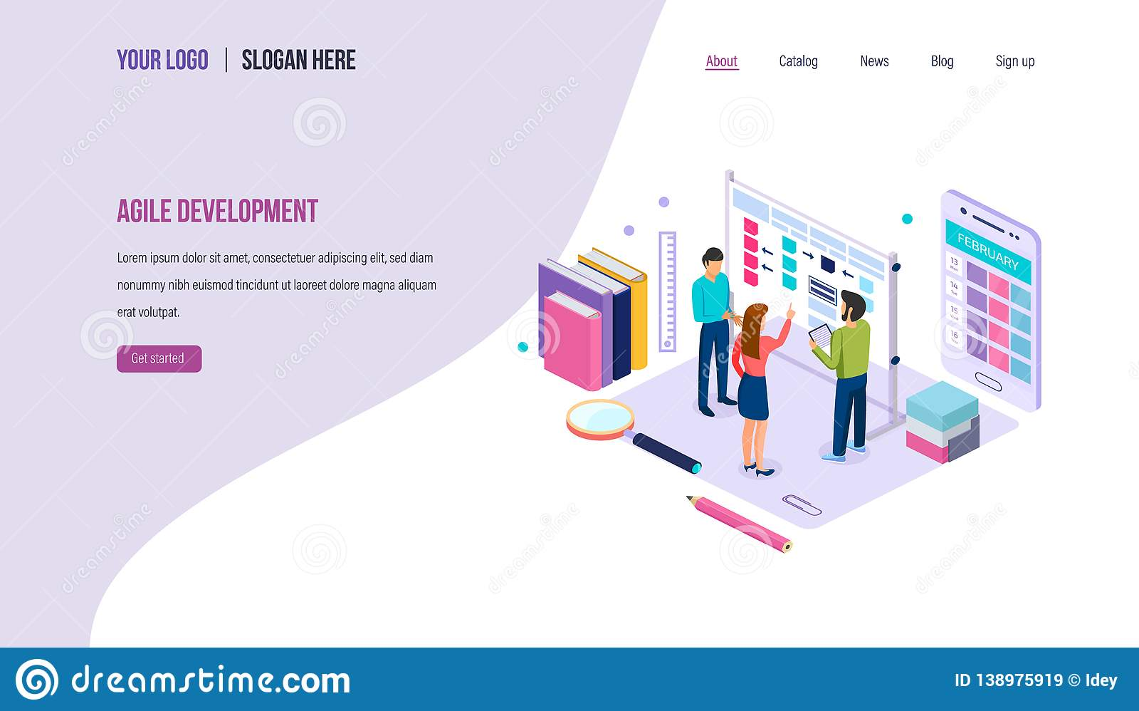 Agile development. Teamwork on project using agile technology, strategic planning.