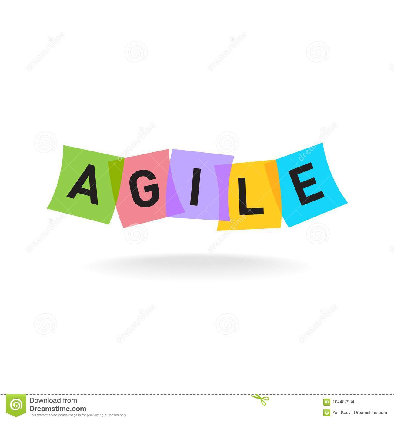 Agile Letters With Color Office Stickers. Stock Vector   Illustration