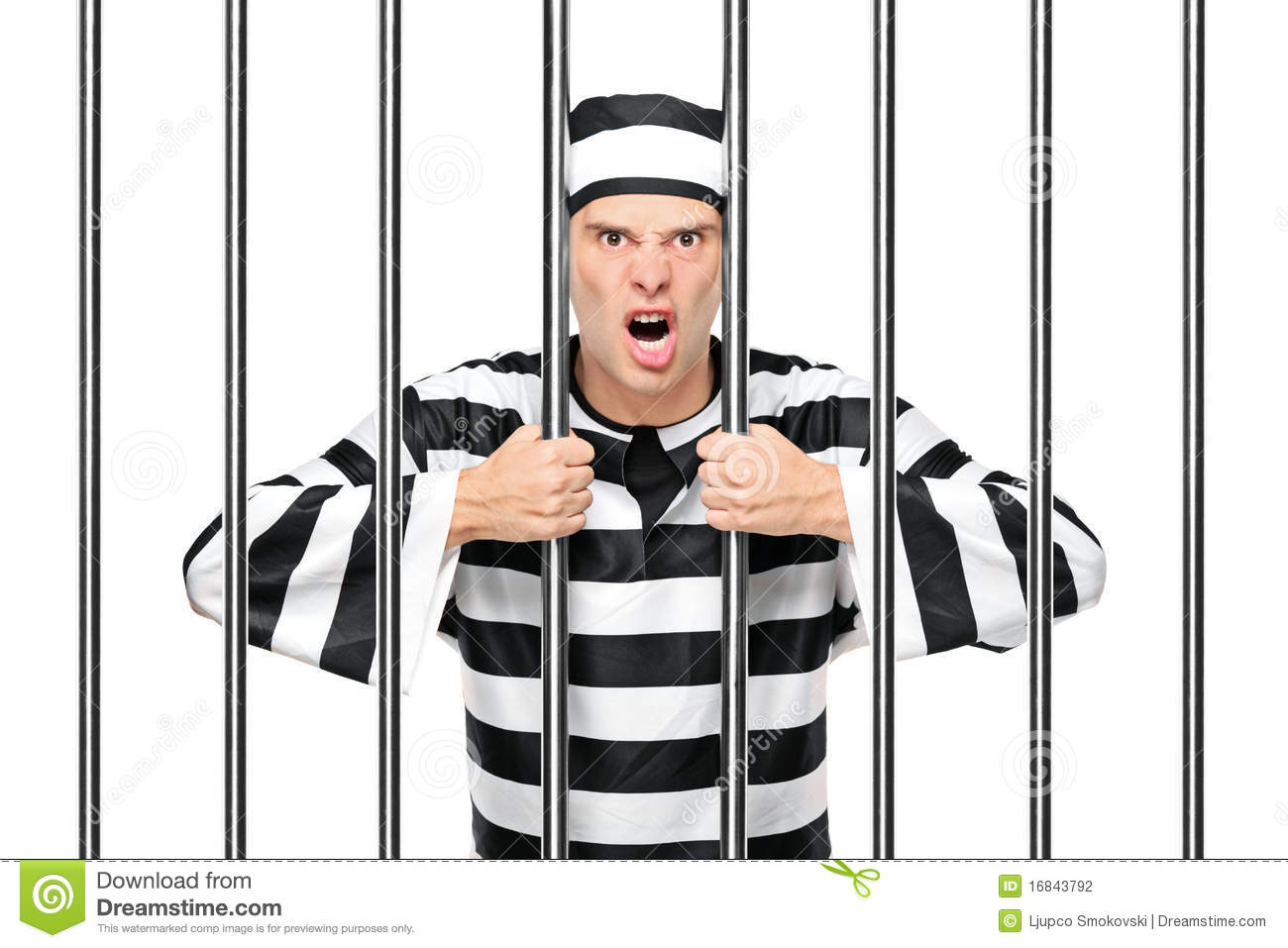 An agitated prisoner in jail holding bars stock photo image 16843792 - Picture of bars ...