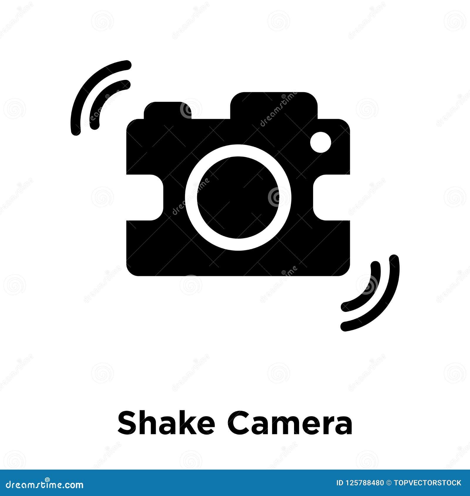 Agite o vetor do ícone da câmera isolado no fundo branco, logotipo concentrado