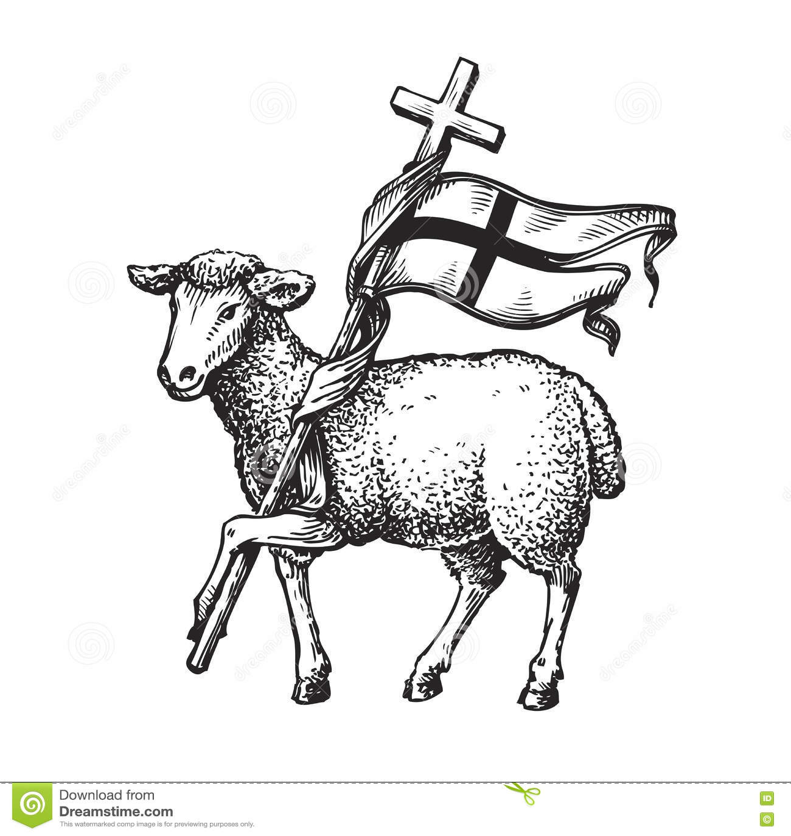 Agneau avec la croix Symbole de religion Illustration de vecteur de croquis