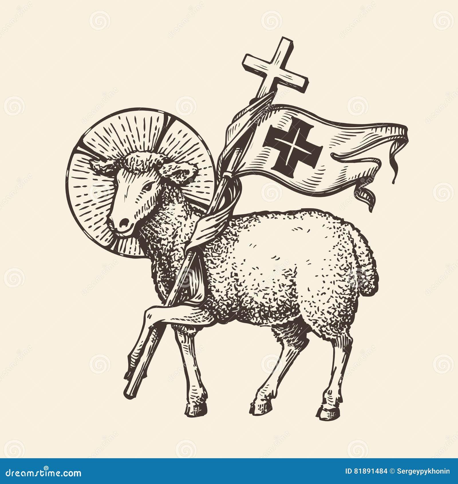 Agneau ou moutons tenant la croix Symbole religieux Vecteur de croquis