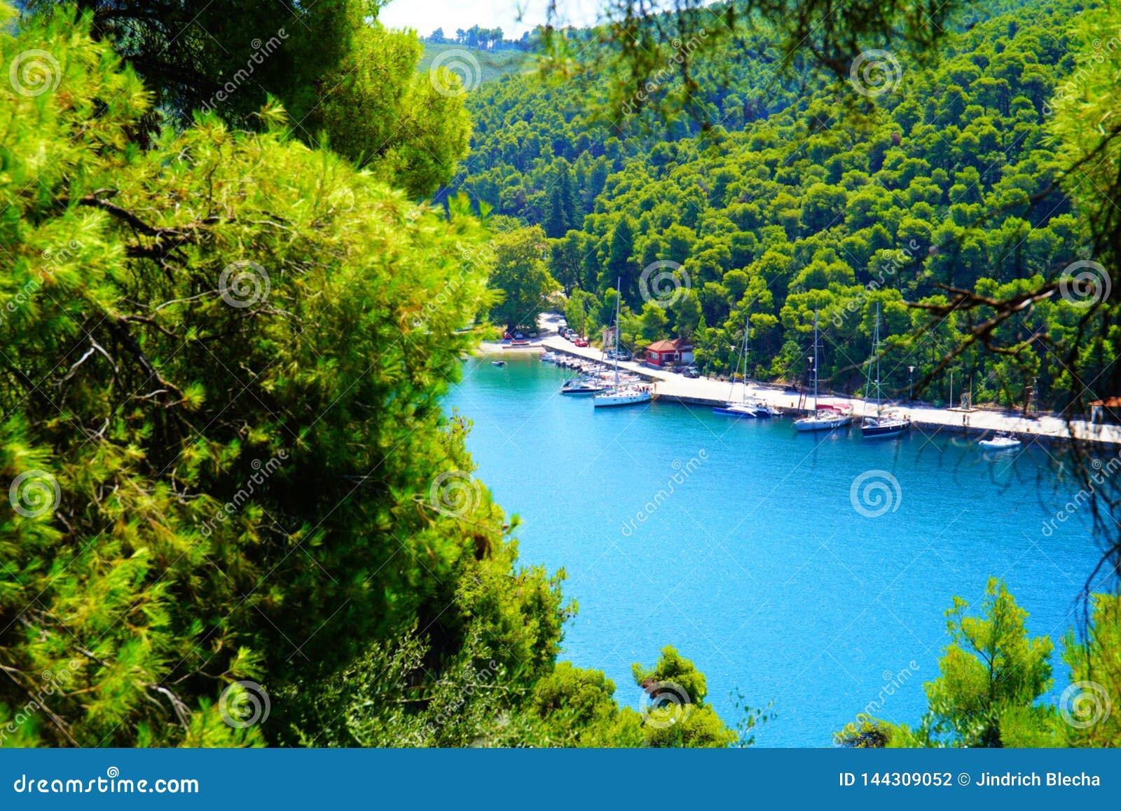 Agnontas bay on a sunny day, Greece