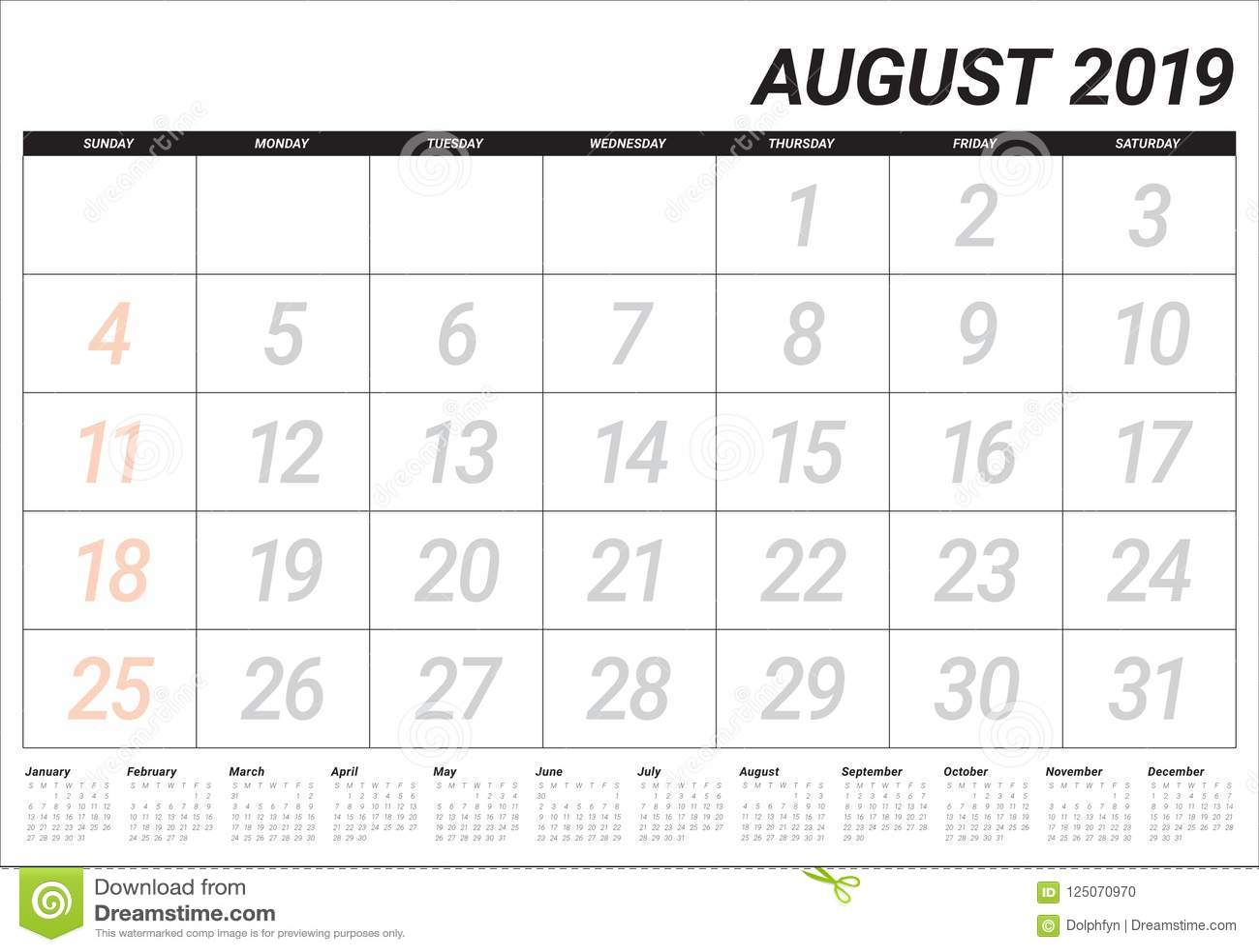 Agosto Calendario.Agosto 2019 Illustrazione Di Vettore Del Calendario Da