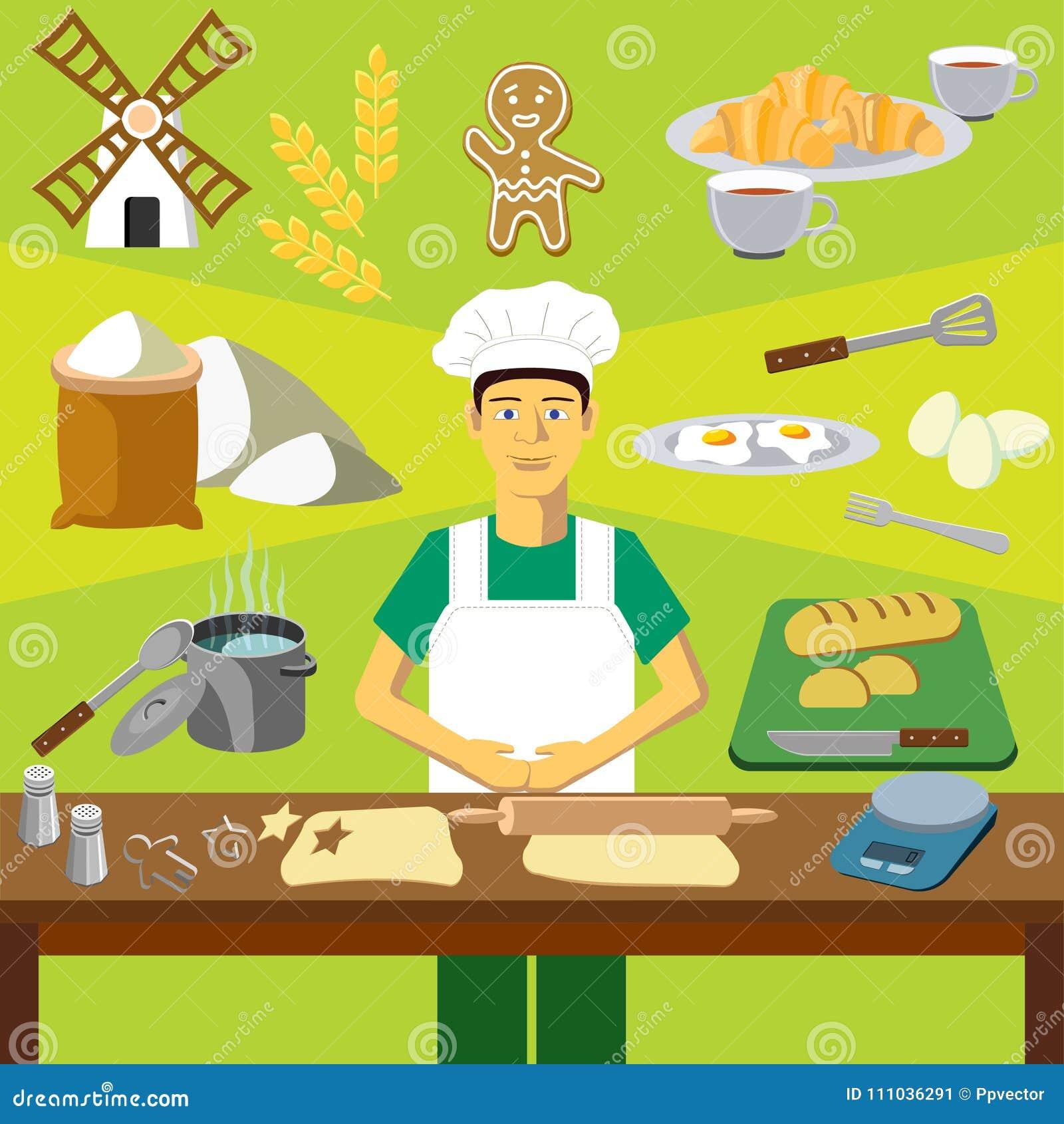 Agrafe art Éducation d Infographics Profession du cuisinier de boulanger