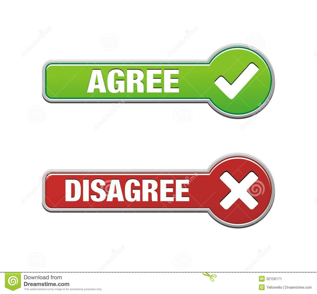 Agree And Disagree Button Sets Stock Image - Image: 32156171