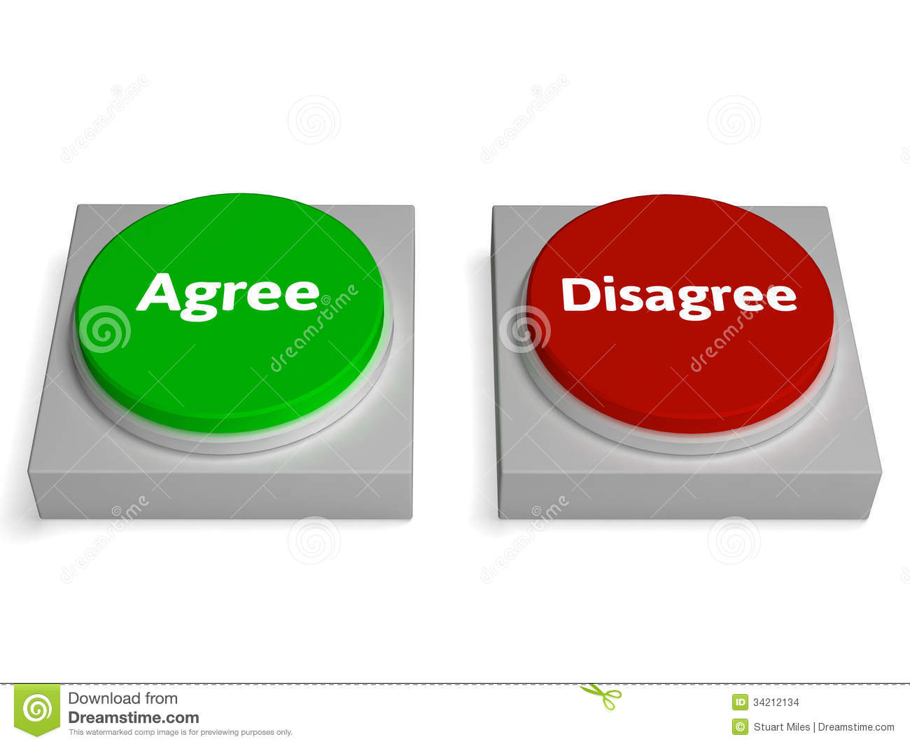 Agree Disagree Buttons Shows Agreement Stock Images - Image: 34212134