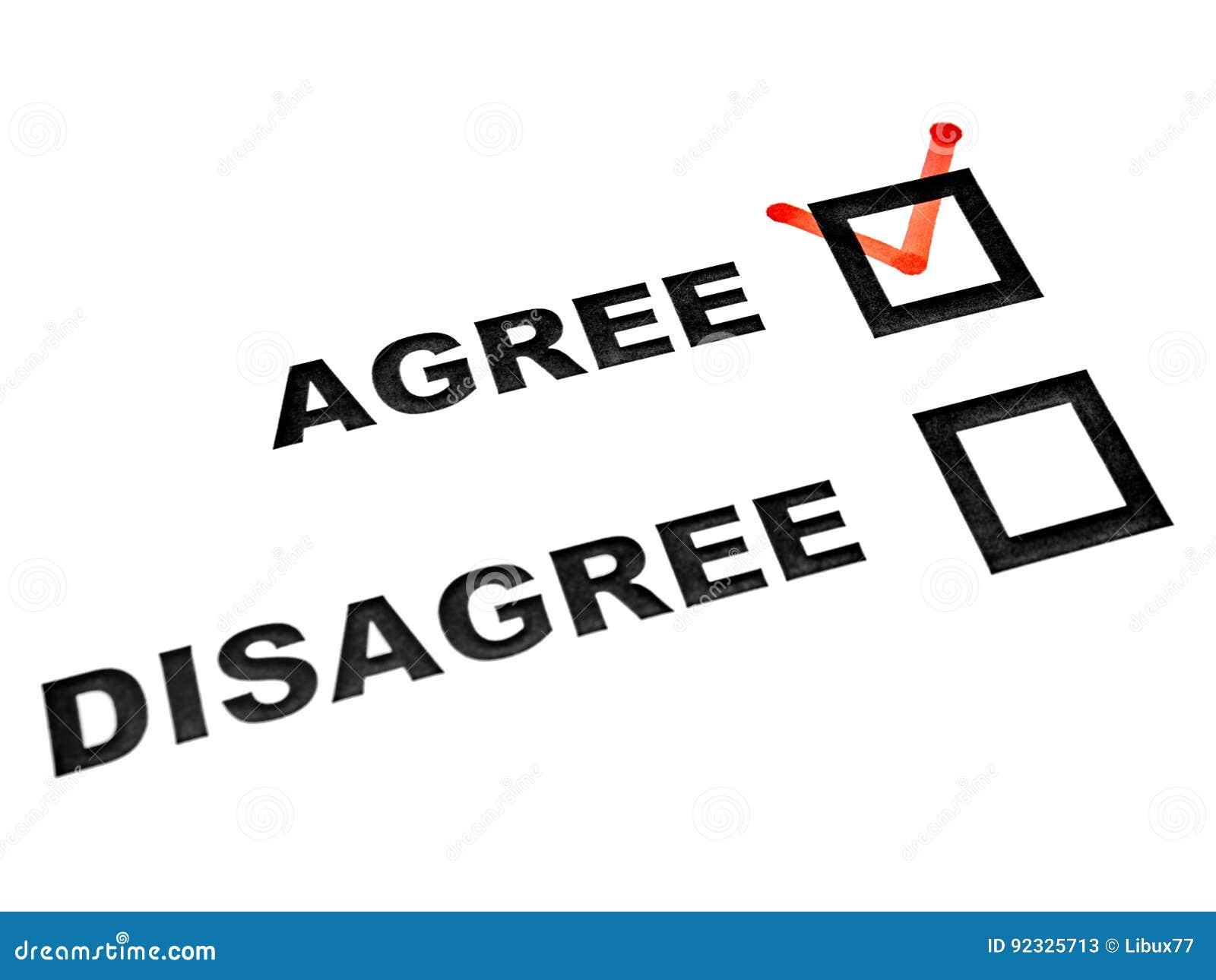 Agree sont en désaccord des cases à cocher sur le coutil blanc de feuille conviennent dessus