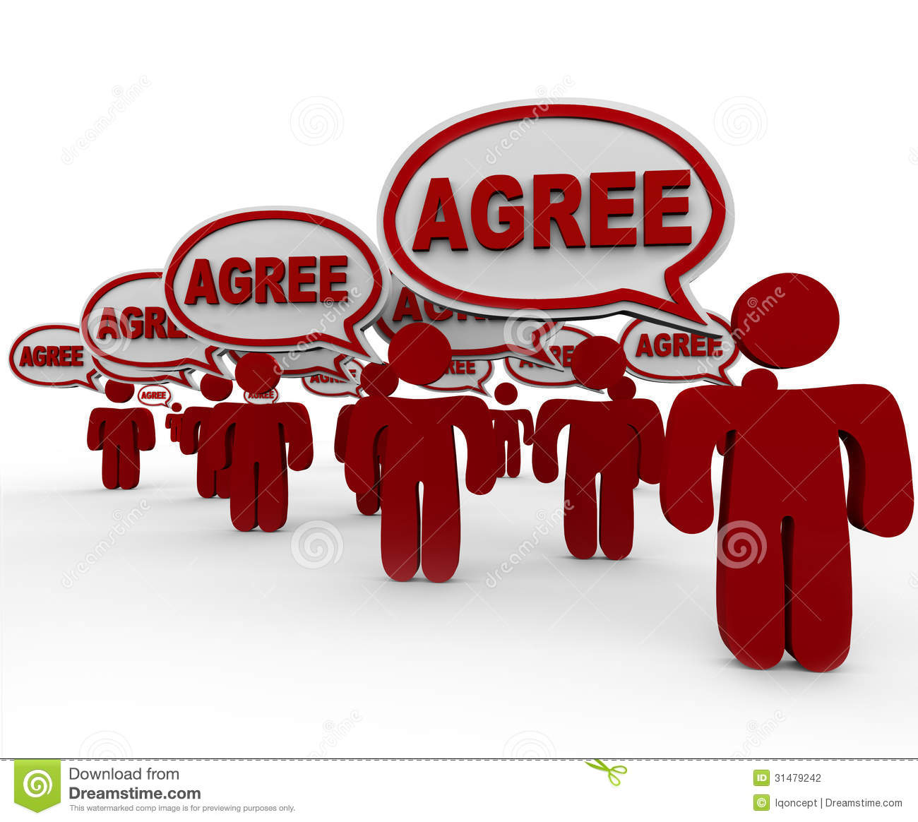 Agree Word Speech Bubbles Group People Agreement Stock Illustration