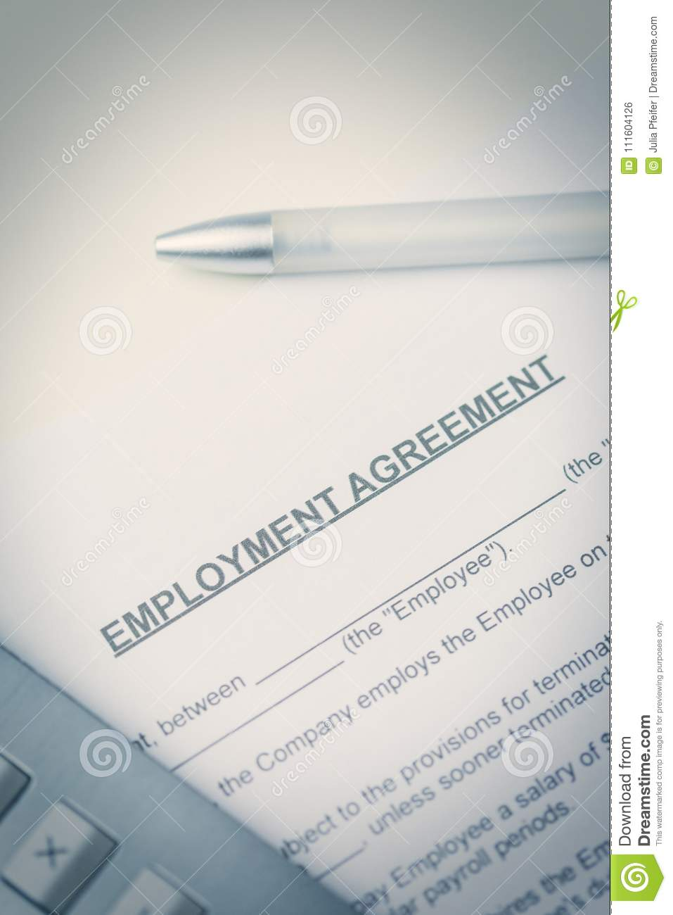 Agreement Of Employment With Pen And Laptop Stock Photo Image Of