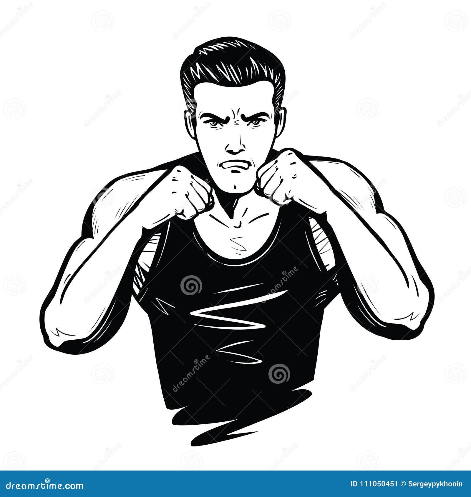 Agressieve vechter met vuisten Strijd, slag, gevechtsconcept Schets vectorillustratie