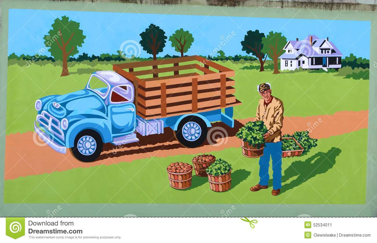 Agricoltore With Crops Mural su James Road a Memphis, Tennessee
