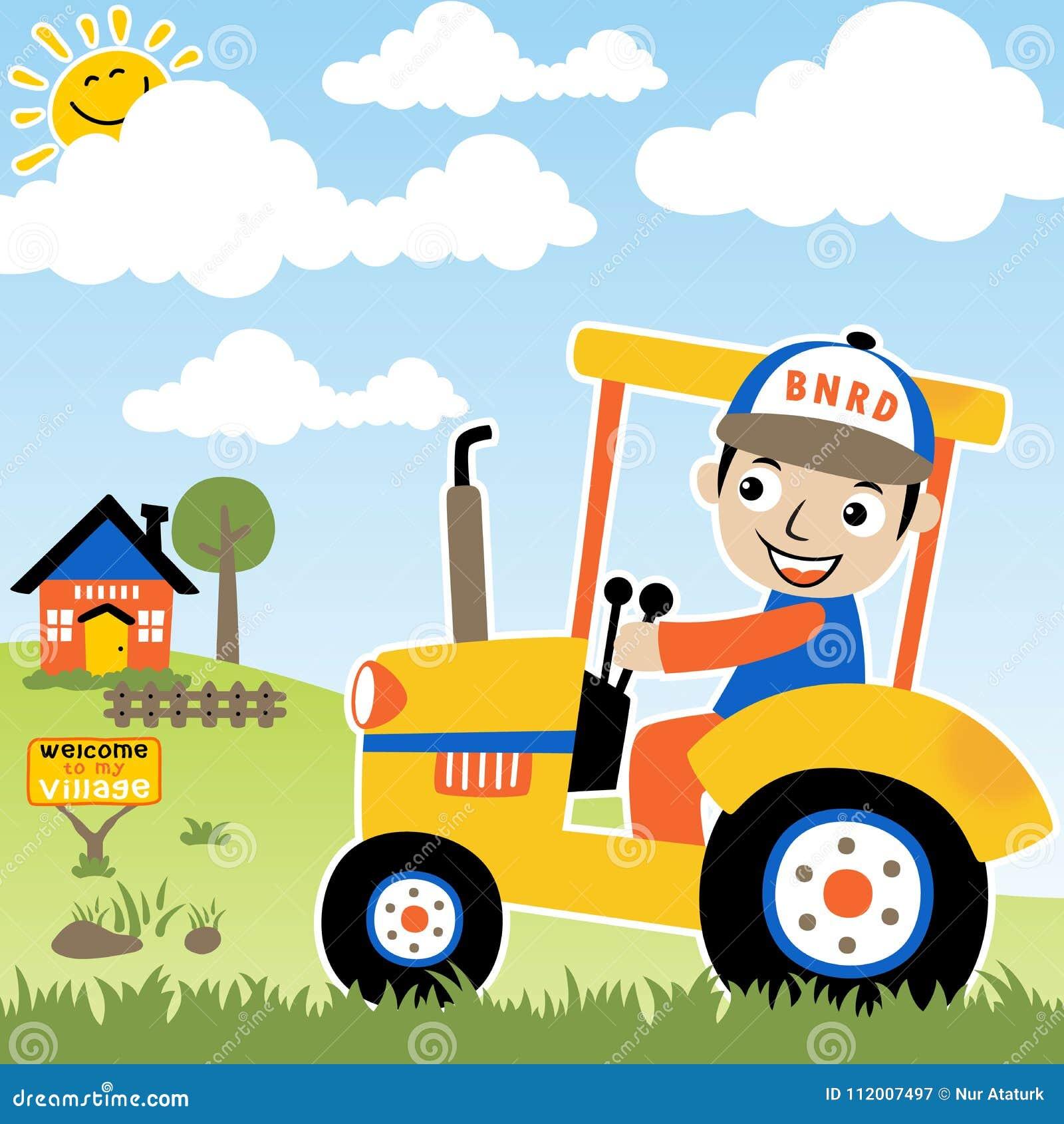 Agricoltore felice sul trattore