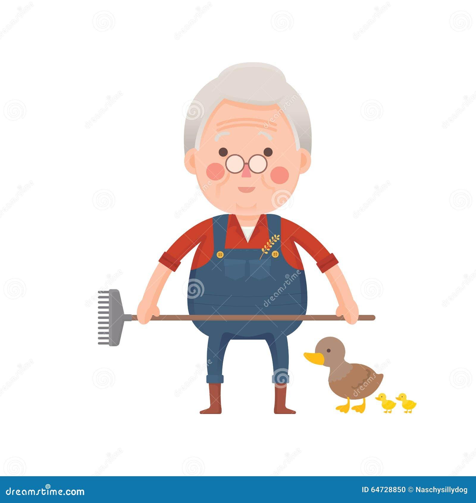 Agricoltore senior con le anatre, personaggio dei cartoni animati