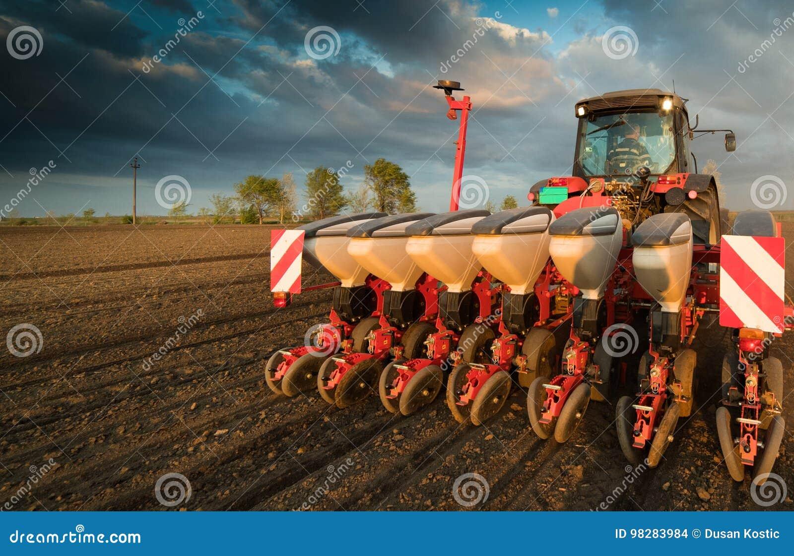Agriculteur avec l ensemencement de tracteur - l encemencement cultive au champ agricole