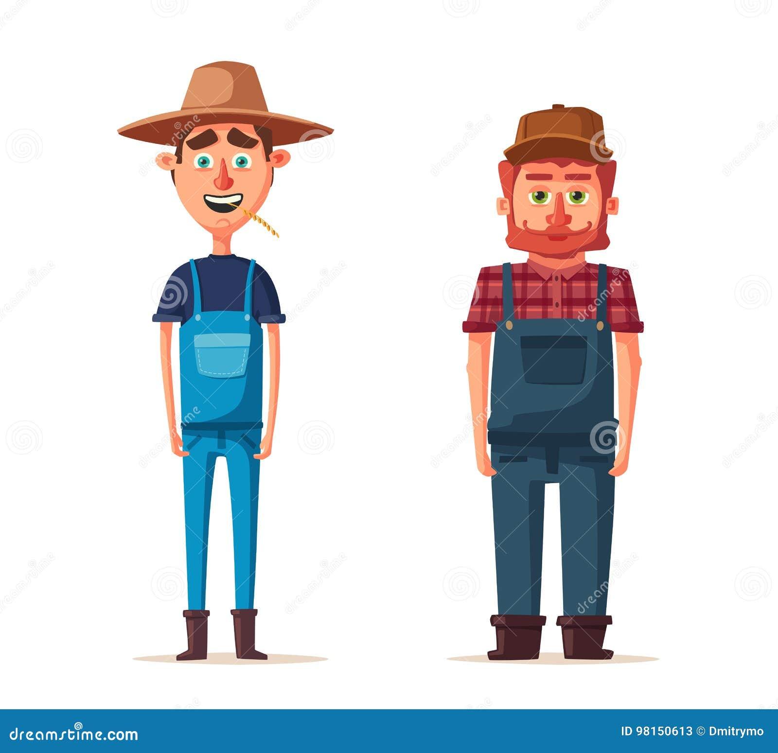 Agriculteurs Drôles Illustration De Vecteur De Dessin Animé