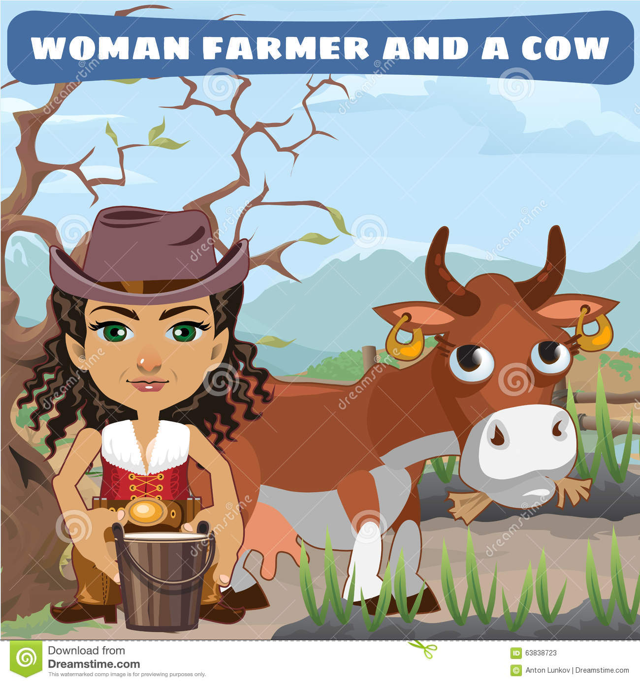 Agricultrice et une vache sur le ranch illustration de for Ranch occidentale