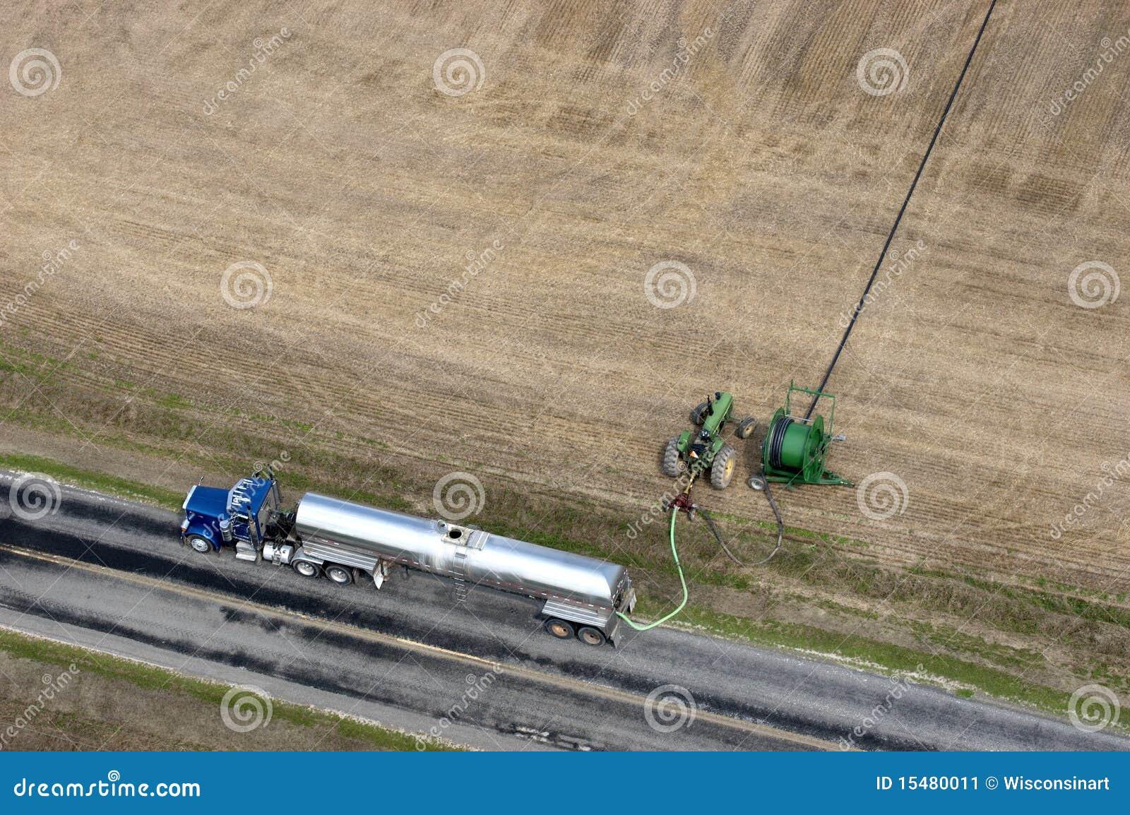 Agricultura de bombeamento do campo de exploração agrícola do estrume do caminhão
