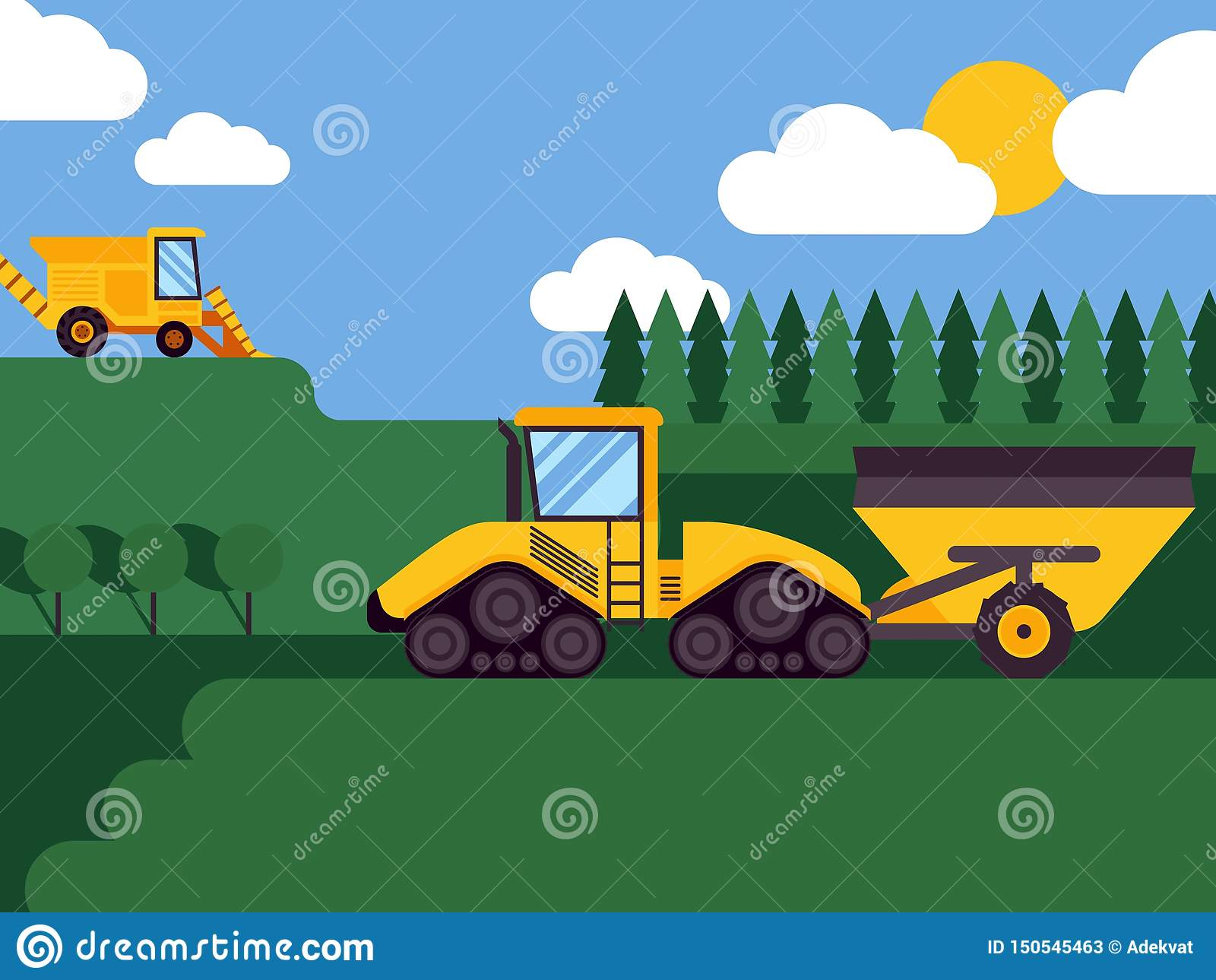 Agricultural combine harvester seasonal farming landscape scene illustration background vector. Fields and forests
