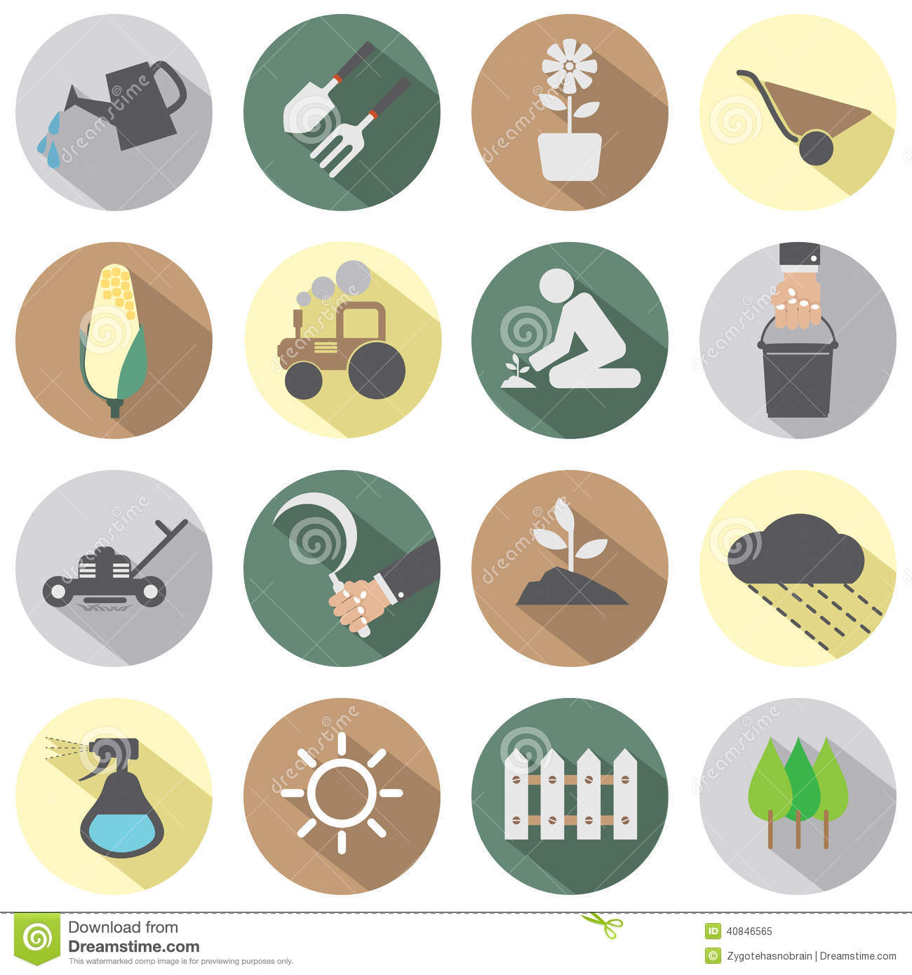 Agricultural Equipment Icons Stock Vector - Image: 40846565