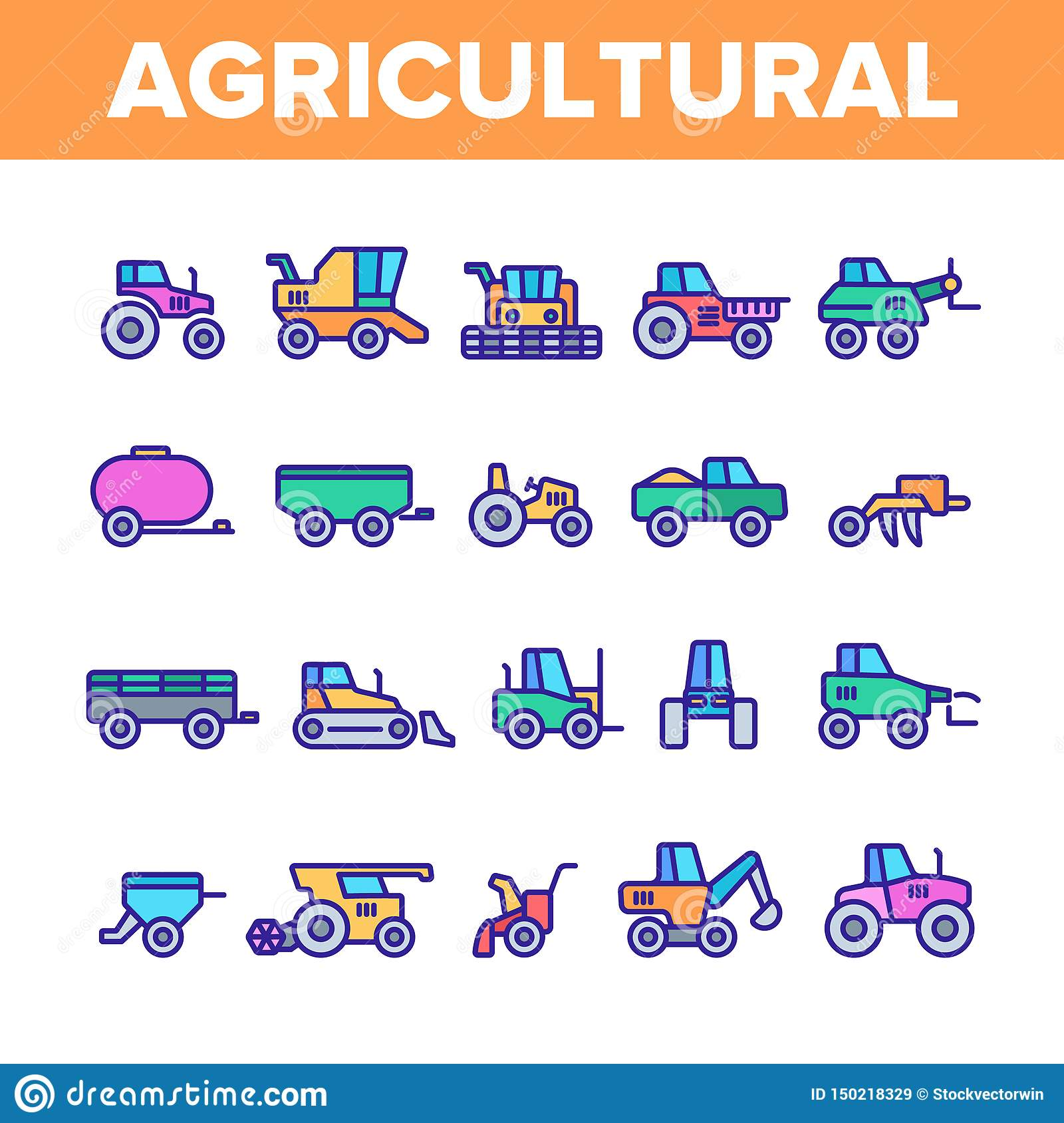 Agricultural Heavy Machinery Vector Linear Icons Set