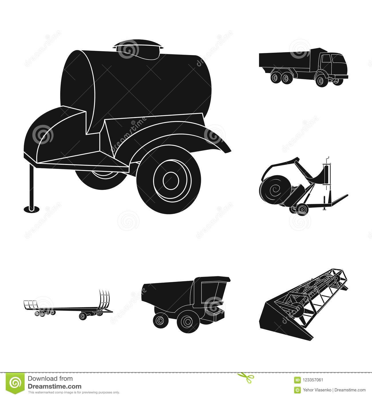 Agricultural Machinery Black Icons In Set Collection For Design