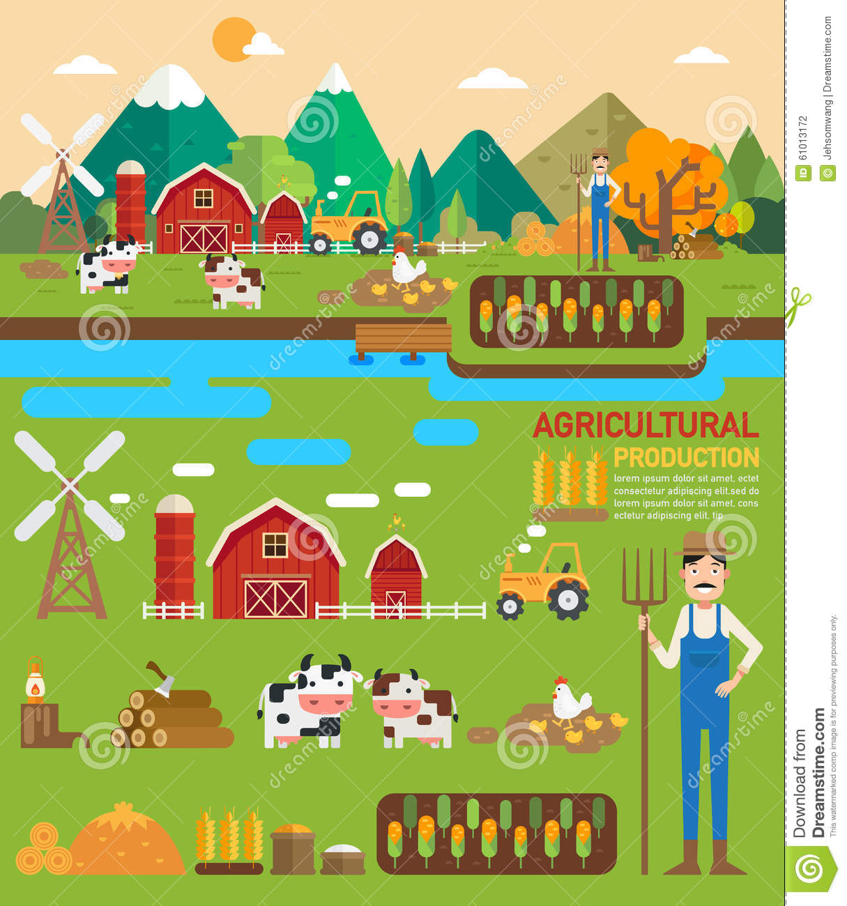 Agricultural Production Infographic Stock Vector