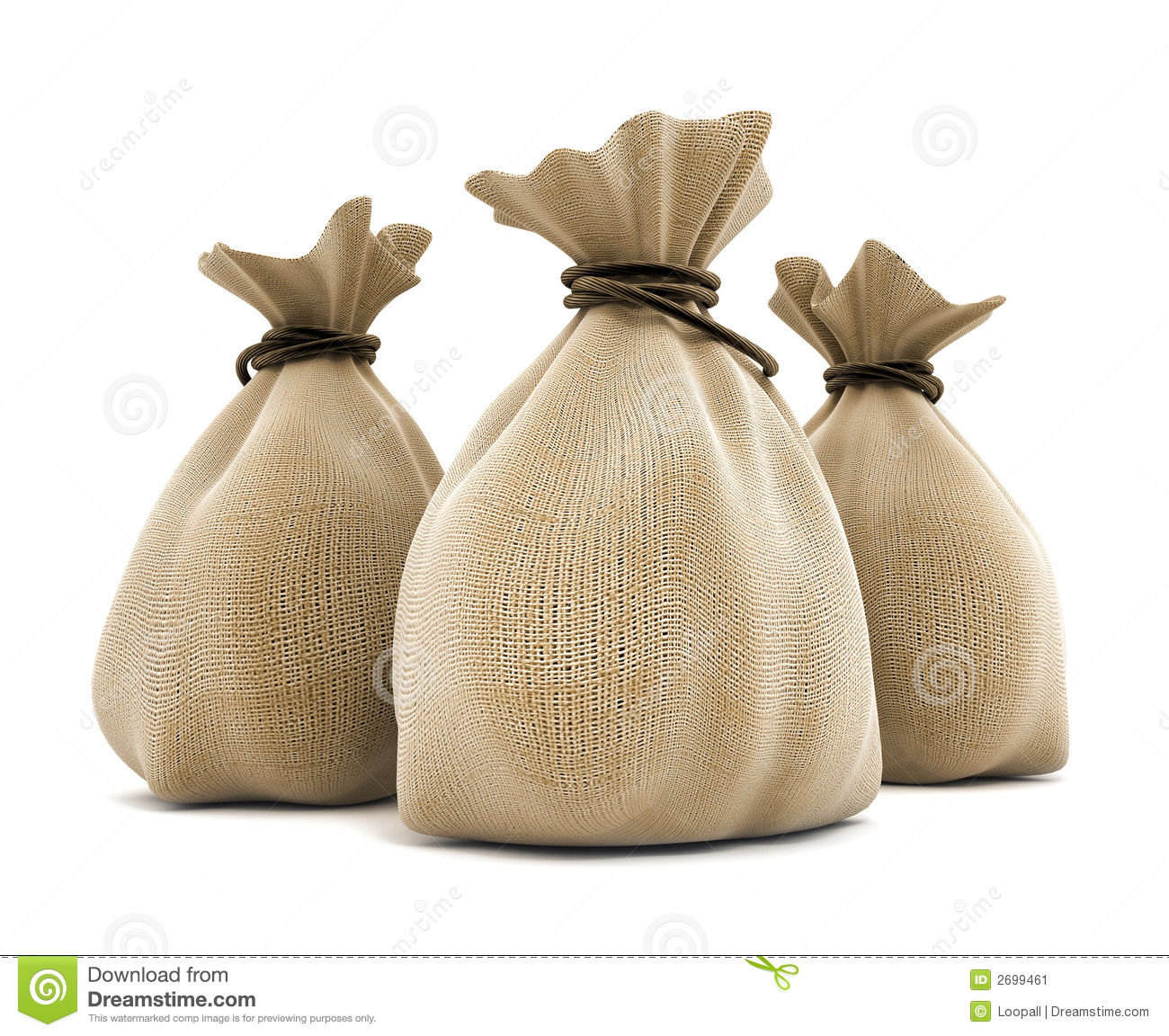 Full sacks agricultural isolated 3d model illustration.