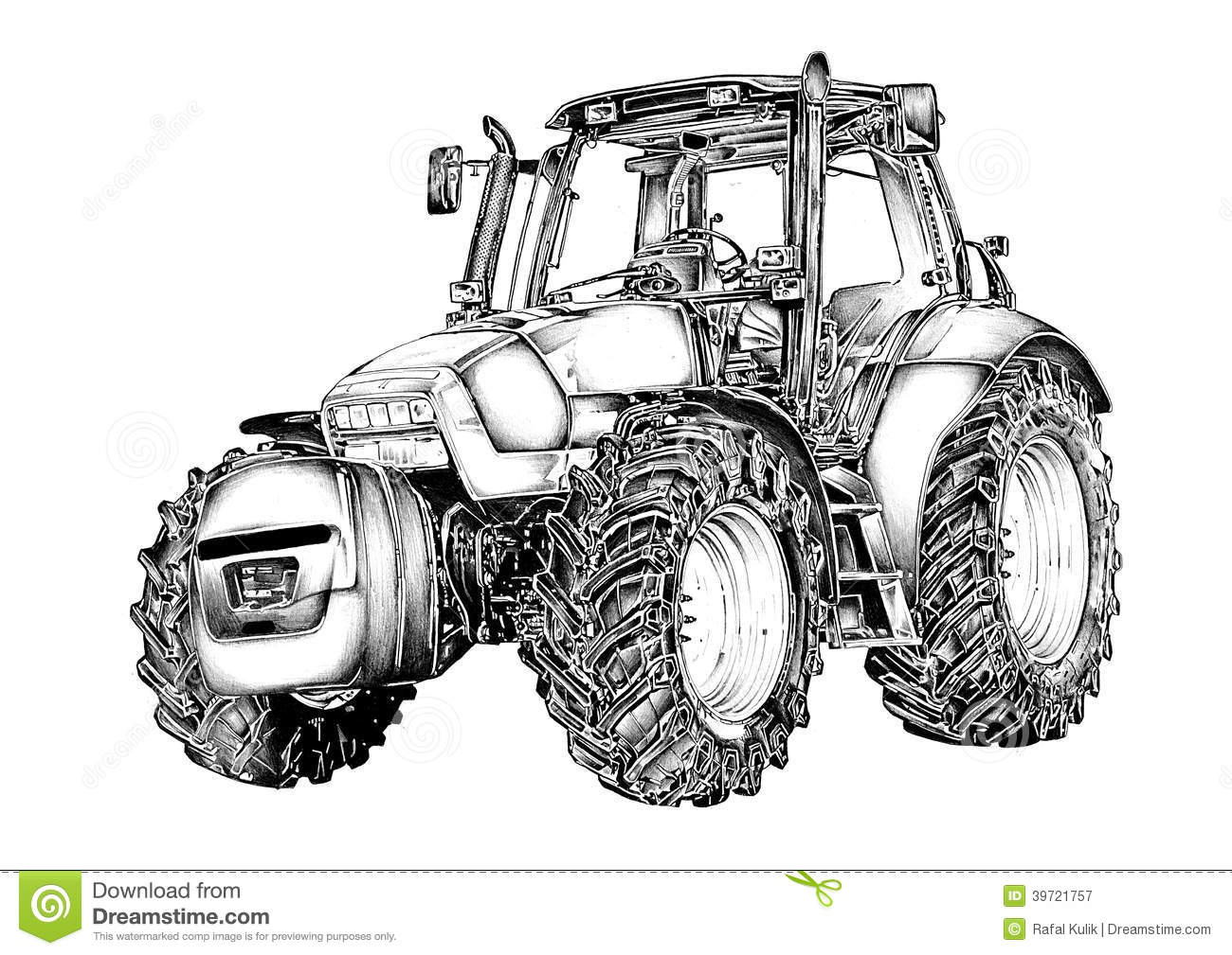 Royalty Free Stock Photography Agricultural Tractor Illustration Art Drawing Image39721757